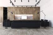 Soggiorno in legno, divani neri e un televisore