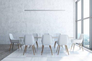 Panoramic white dining room interior