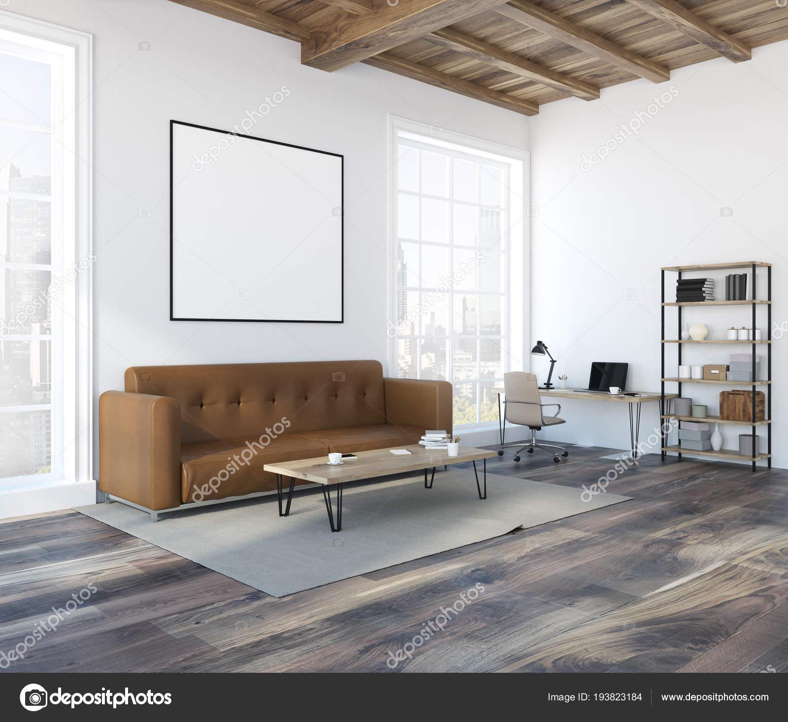 Mur Blanc Salon Avec Canapé Marron Doux Une Table Basse ...