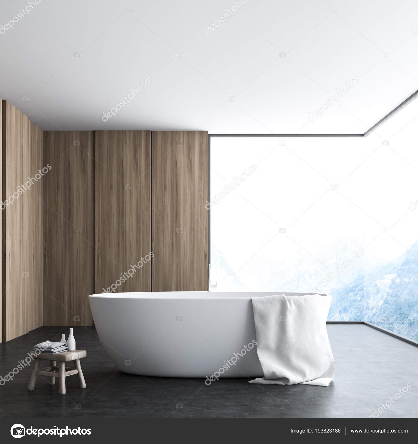 Coin Salle Bains Moderne Avec Sol Beton Murs Blancs Bois