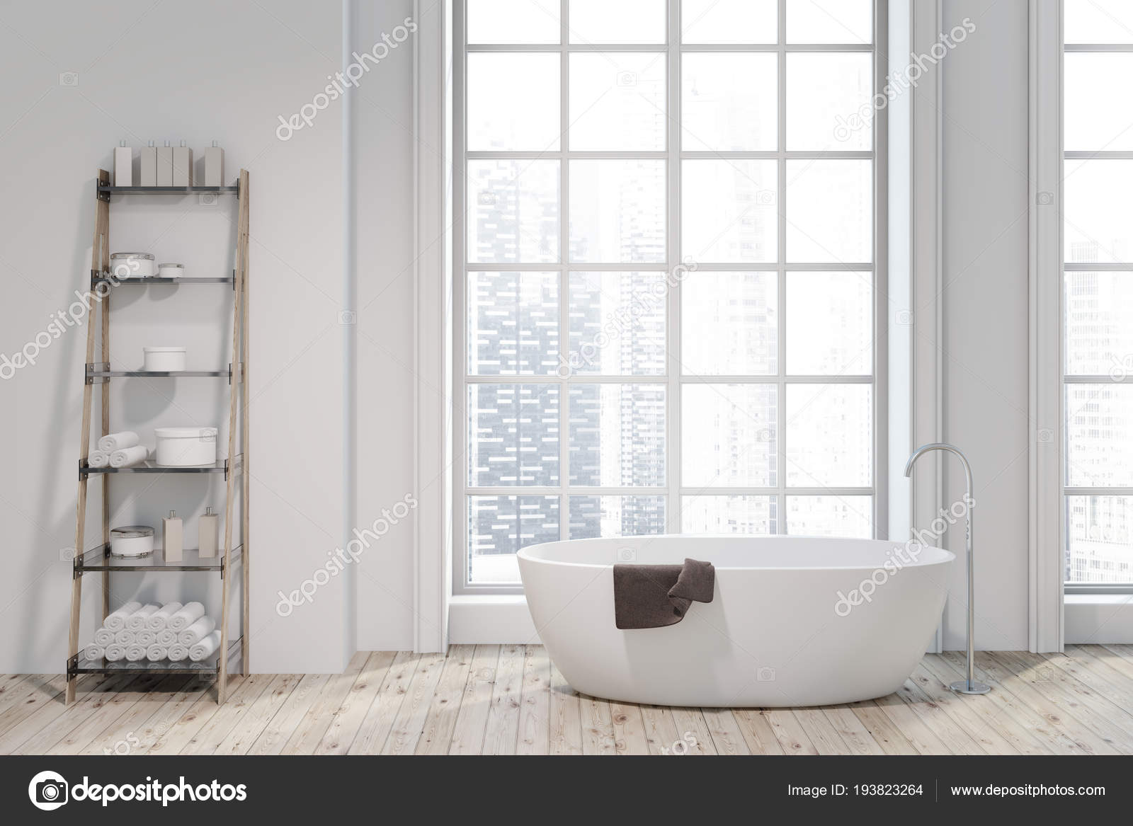 Loft Bathroom Interior Wooden Floor White Walls White Bathtub ...