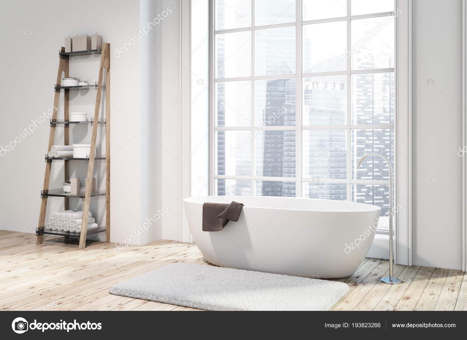 Loft Narożnik łazienka Drewnianą Podłogą Białe ściany Białą