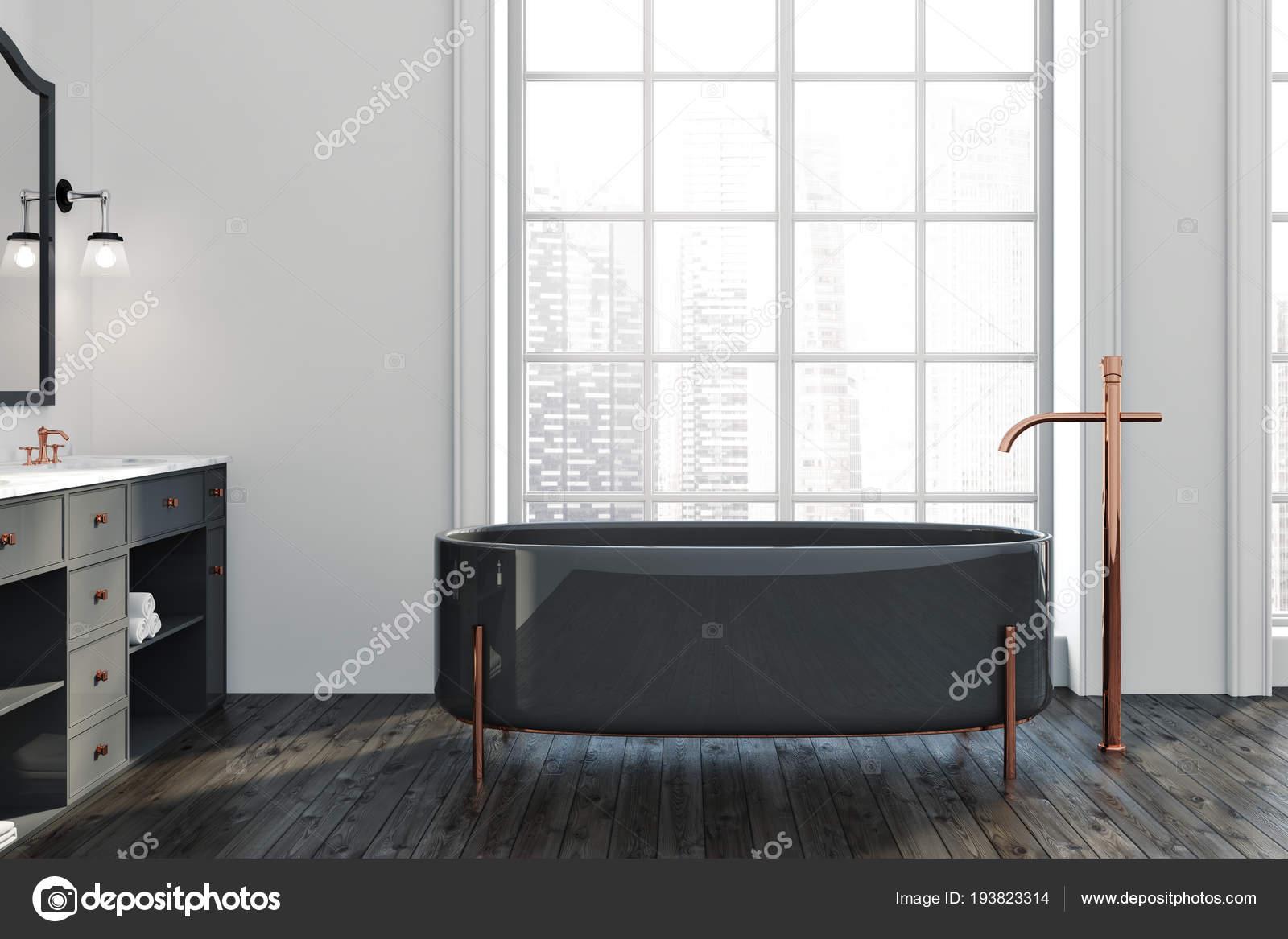 Intérieur Salle Bain Avec Parquet Murs Blancs Baquet Fenêtre Noir ...