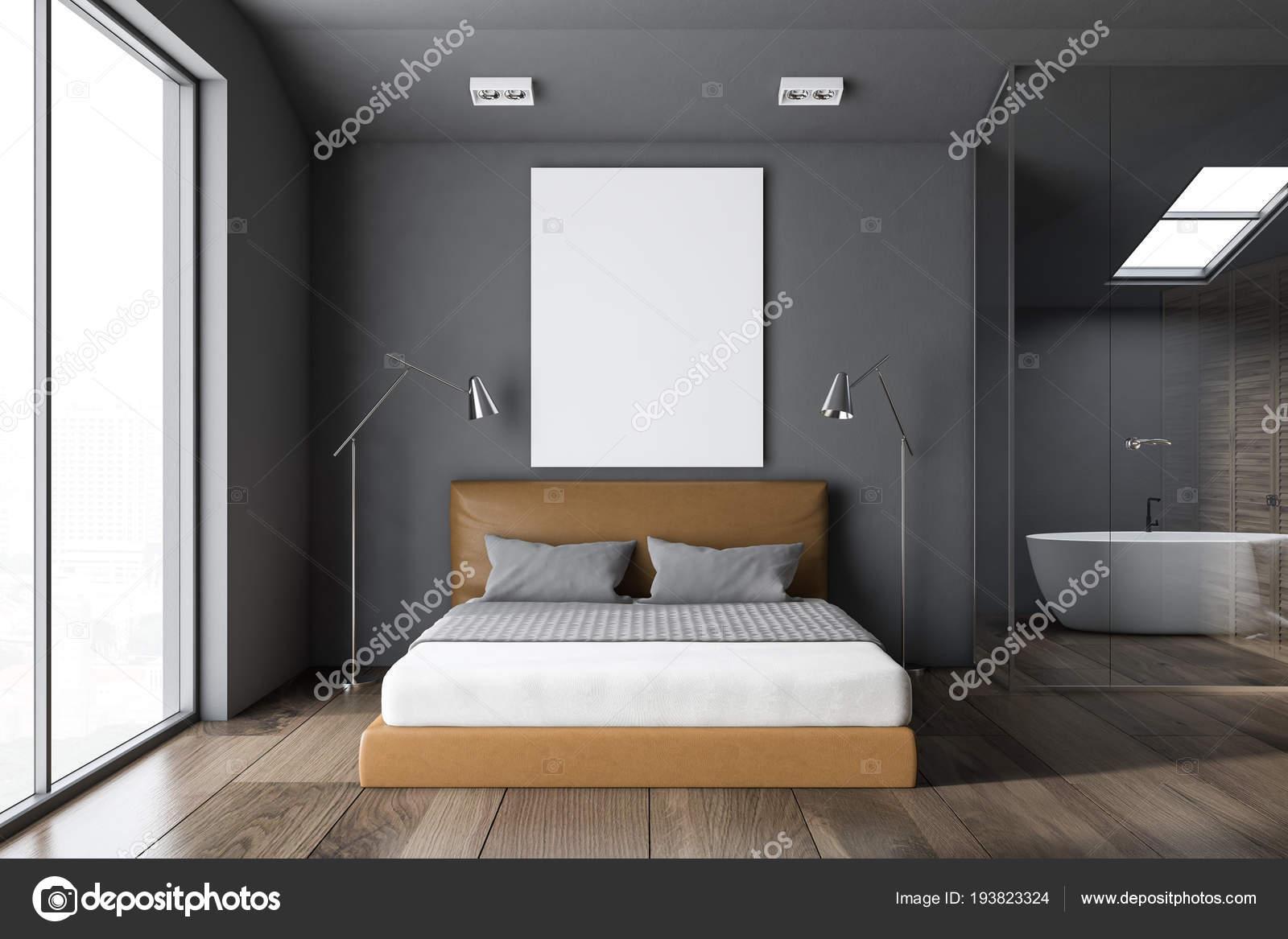 Gray Loft Window Bedroom Interior Gray King Size Bed Small ...