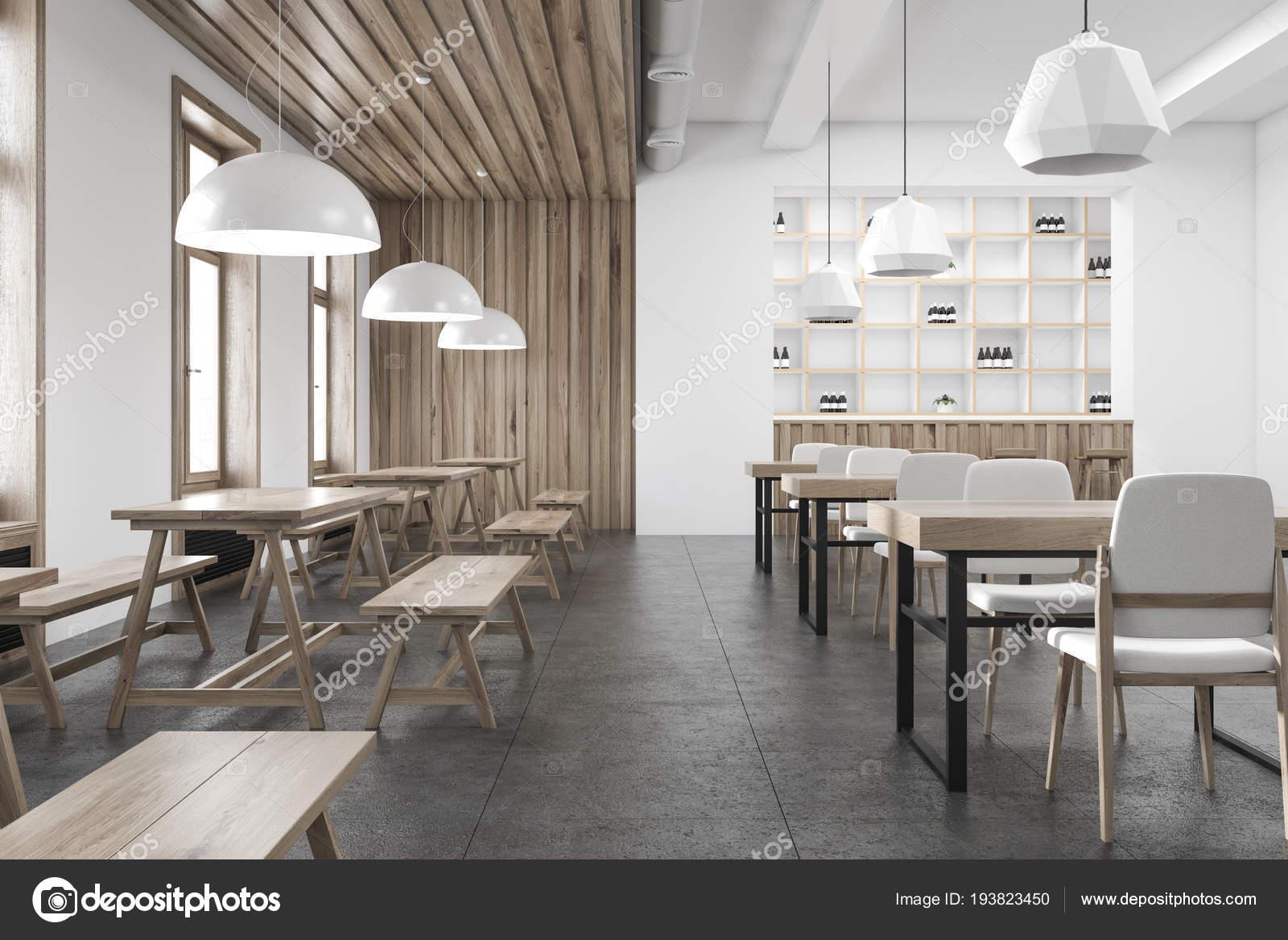 Pareti In Legno Bianco : Interiore della barra parete legno bianco con pavimento