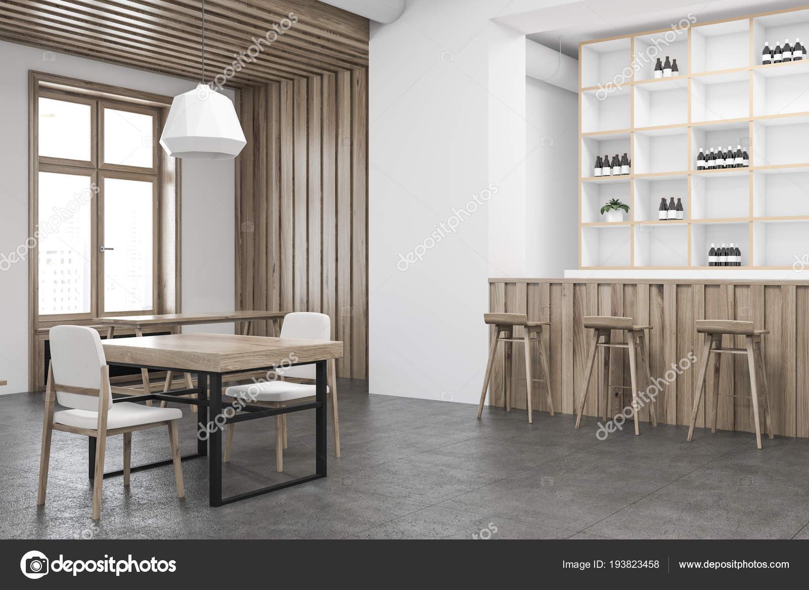 Pareti In Legno Bianco : Angolo bar parete legno bianco con pavimento cemento tavoli legno