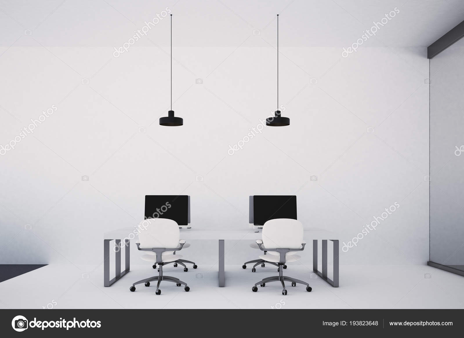 Minimalistische kantoor interieur met twee witte tafels computers