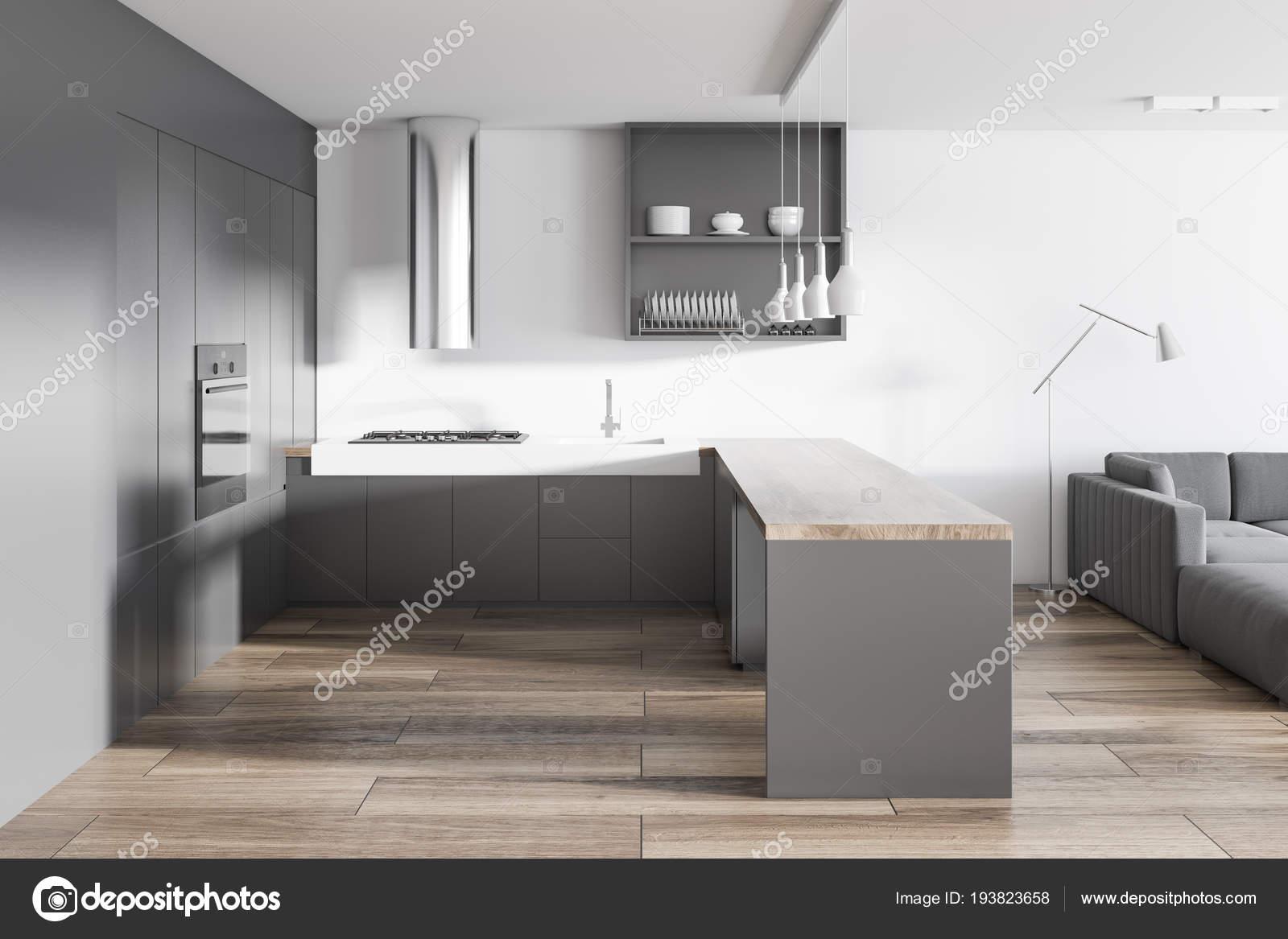 Cucina Bianca Grigia Interiore Del Salone Con Pavimento Legno ...