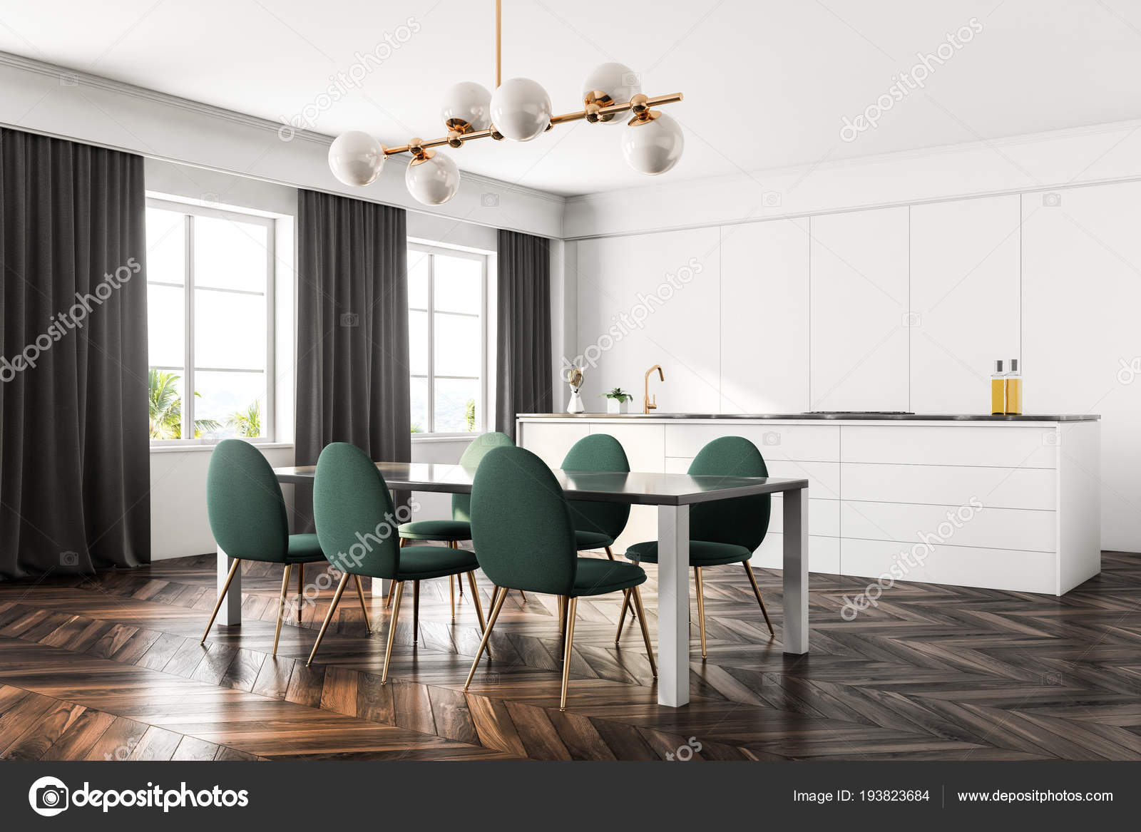 Luxury Dining Room Kitchen Interior Dark Wooden Floor White Walls