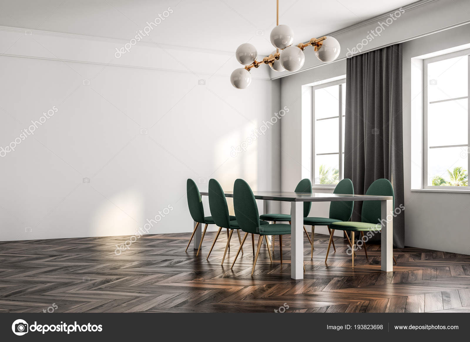 Minimalistic Dining Room Interior Dark Wooden Floor White Walls
