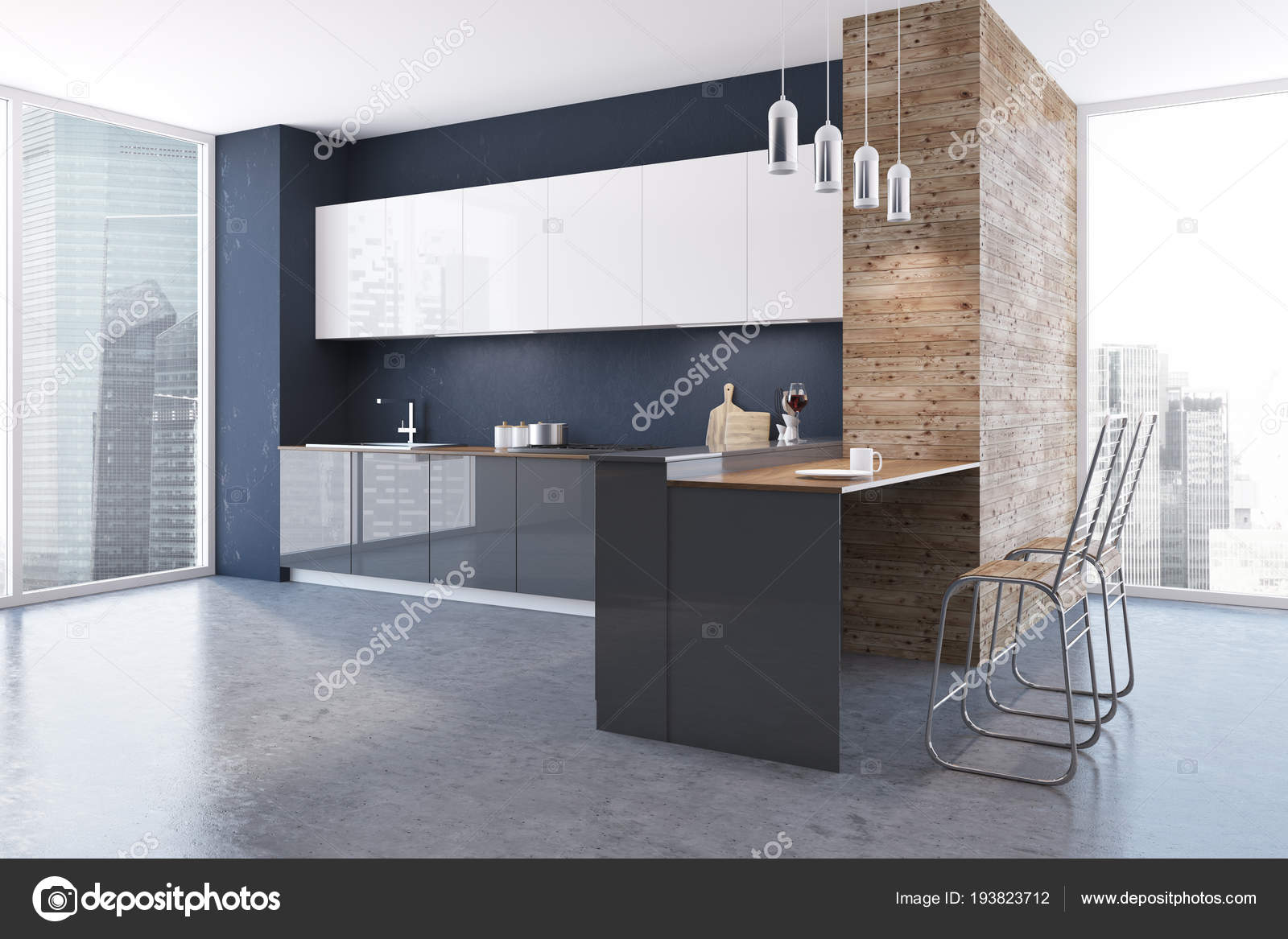 Interno cucina muro nero legno sottotetto con pavimento cemento