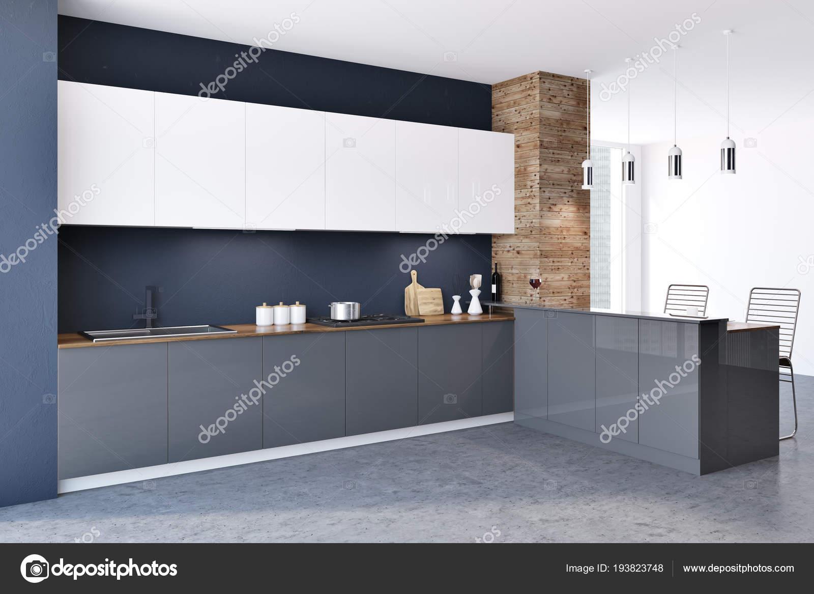 Widok Wnętrza Kuchnia Loft Czarne Drewniane ściany Betonową
