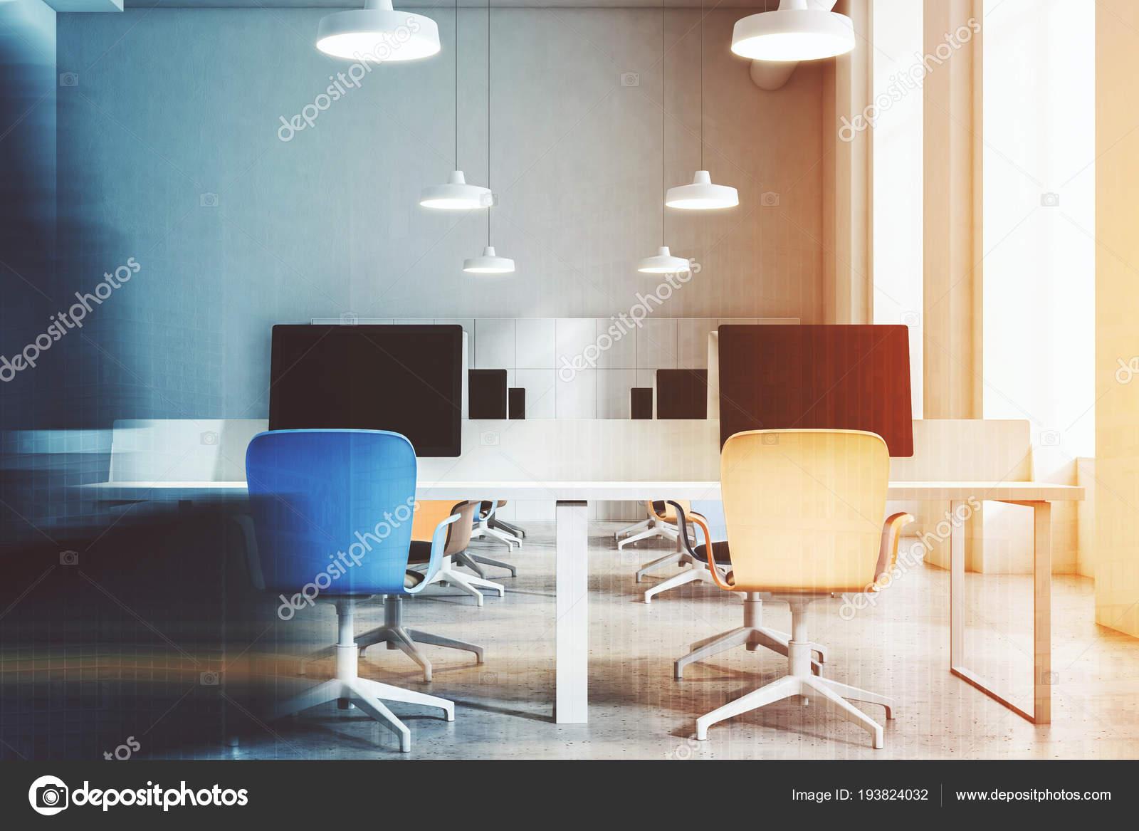 Naranjas Azules Piso Oficina Hormigón Sillas Abierto Interior Con VUpSzMGq