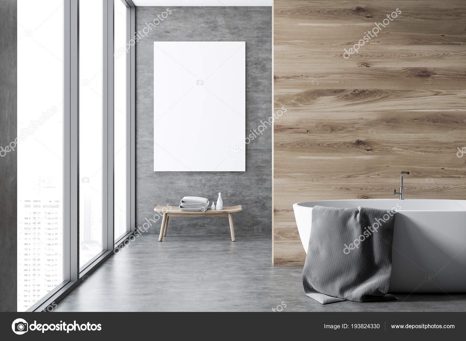 Beton Und Holz Wand Badezimmer Interieur Mit Einem Betonboden Ein ...