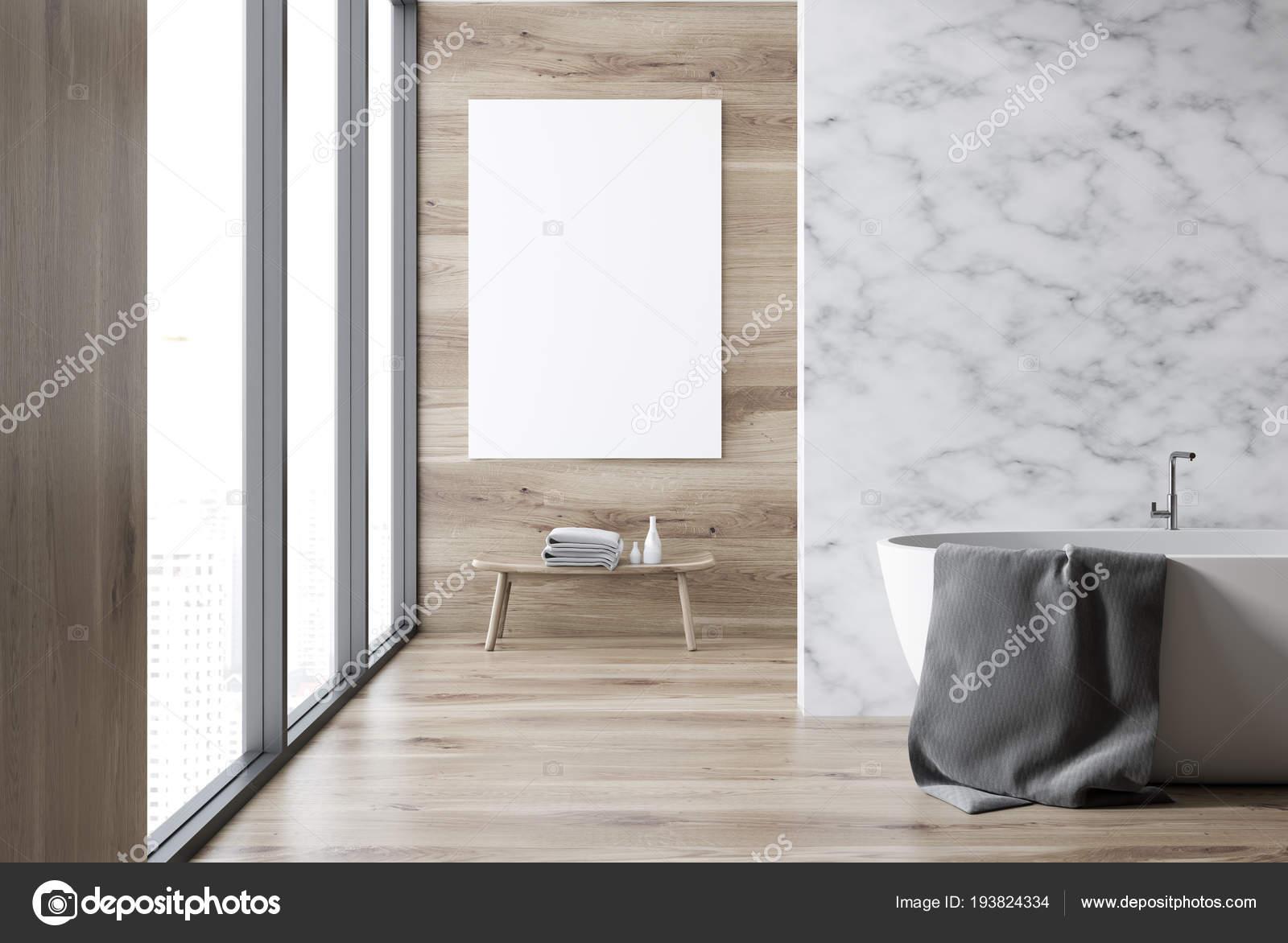 Marmur Drewniane ściany Wnętrz łazienka Drewnianą Podłogą