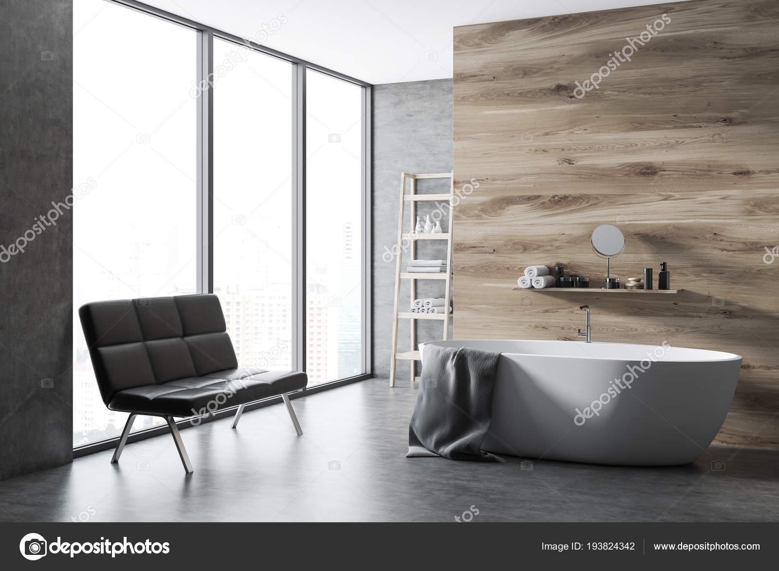 Vasca Da Bagno Divano.Bagno Angolo Parete Legno Con Pavimento Cemento Una Finestra Loft