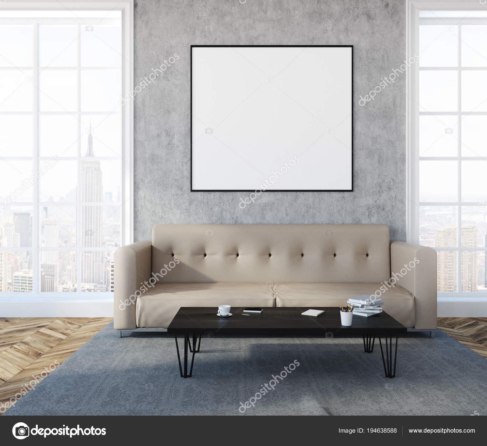 Beton Wand Wohnzimmer Beige Sofa Poster Stockfoto