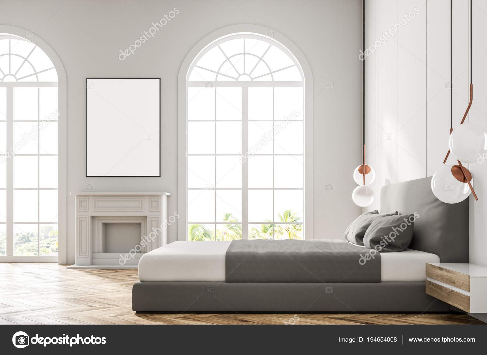 wit getoogd venster slaapkamer poster stockfoto