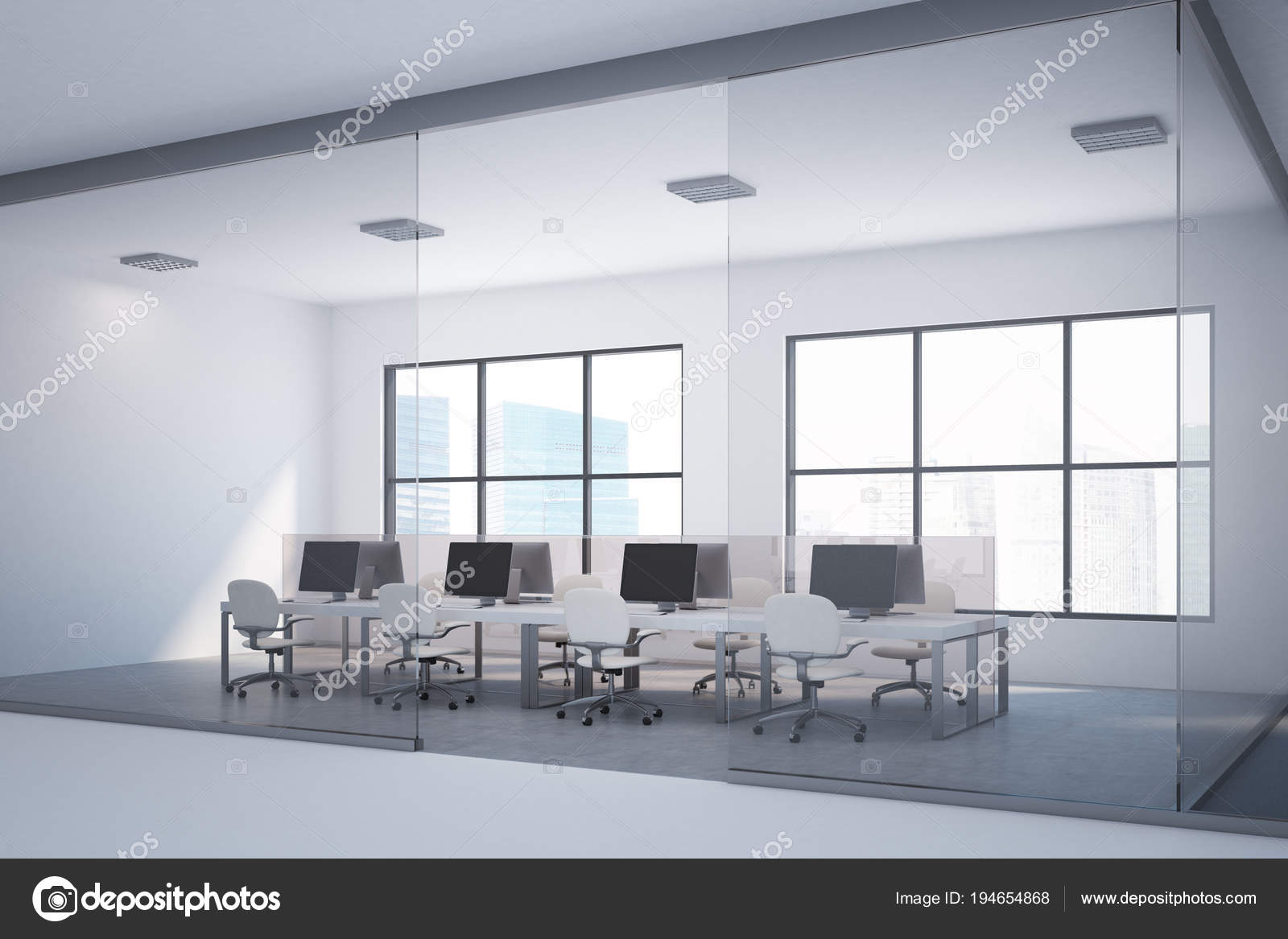 Witte tabel open plan office, donkere vloer lobby — Stockfoto ...