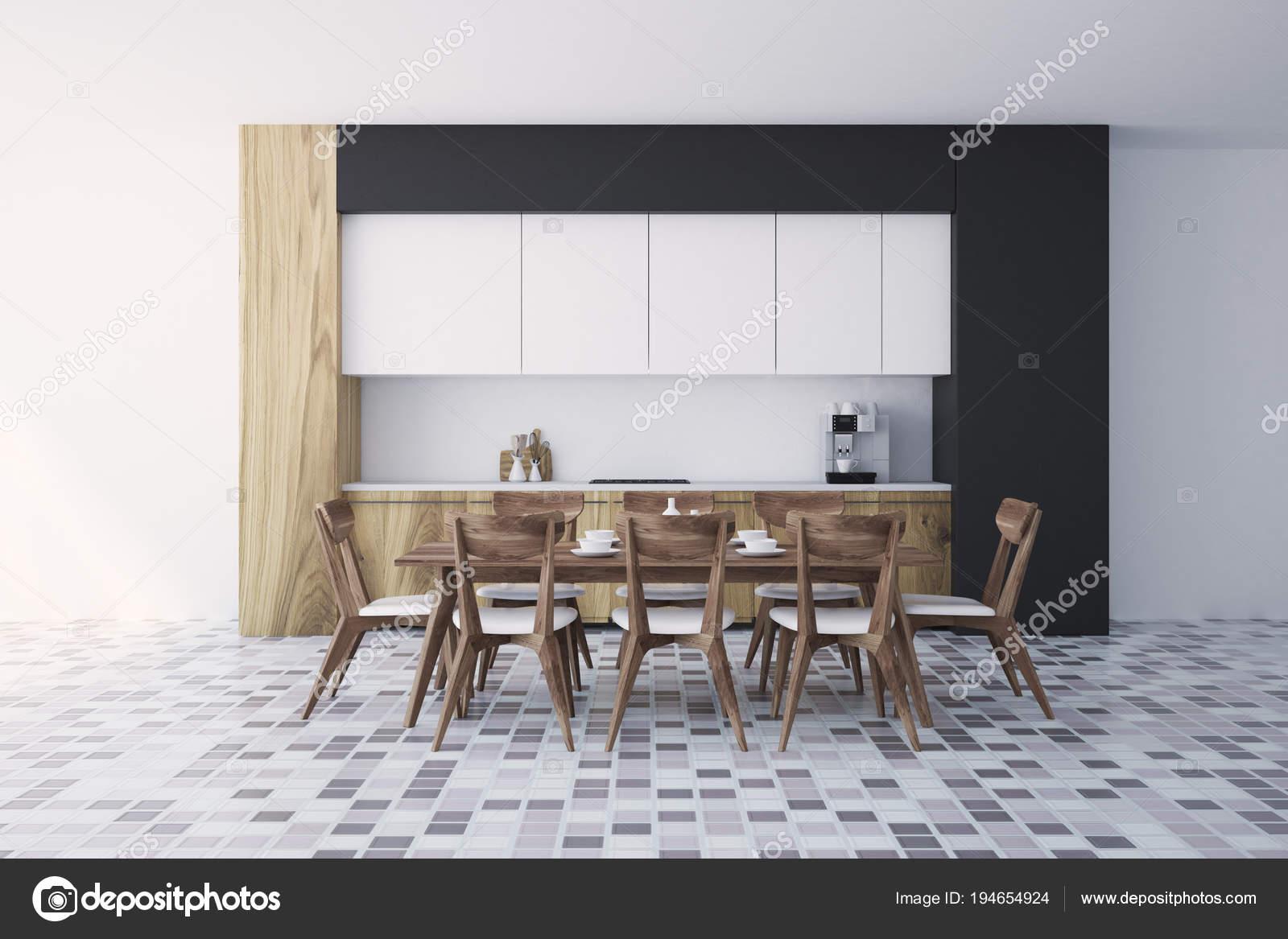 Weißer und schwarzer Innenausstattung, Holz Küchentisch — Stockfoto ...
