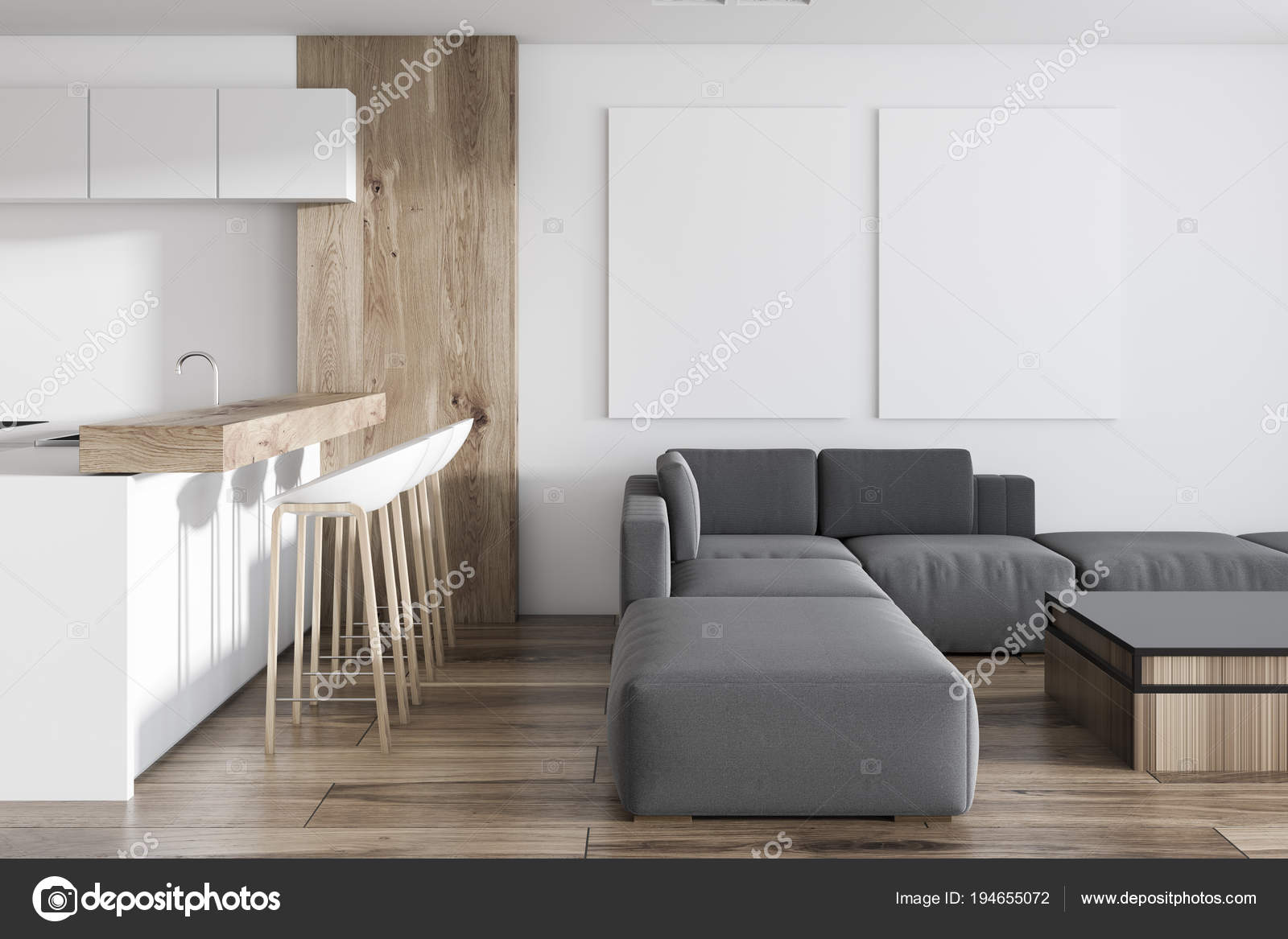 Witte keuken in studio appartement postergalerie u stockfoto