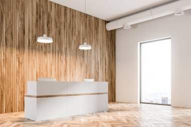 White reception in a modern office, wood
