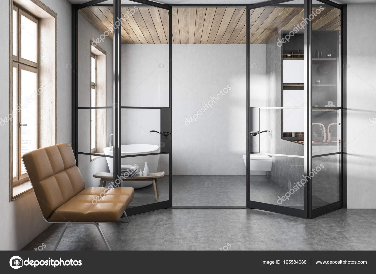 Stilvolle weiße Badezimmer Interieur, Bank — Stockfoto ...