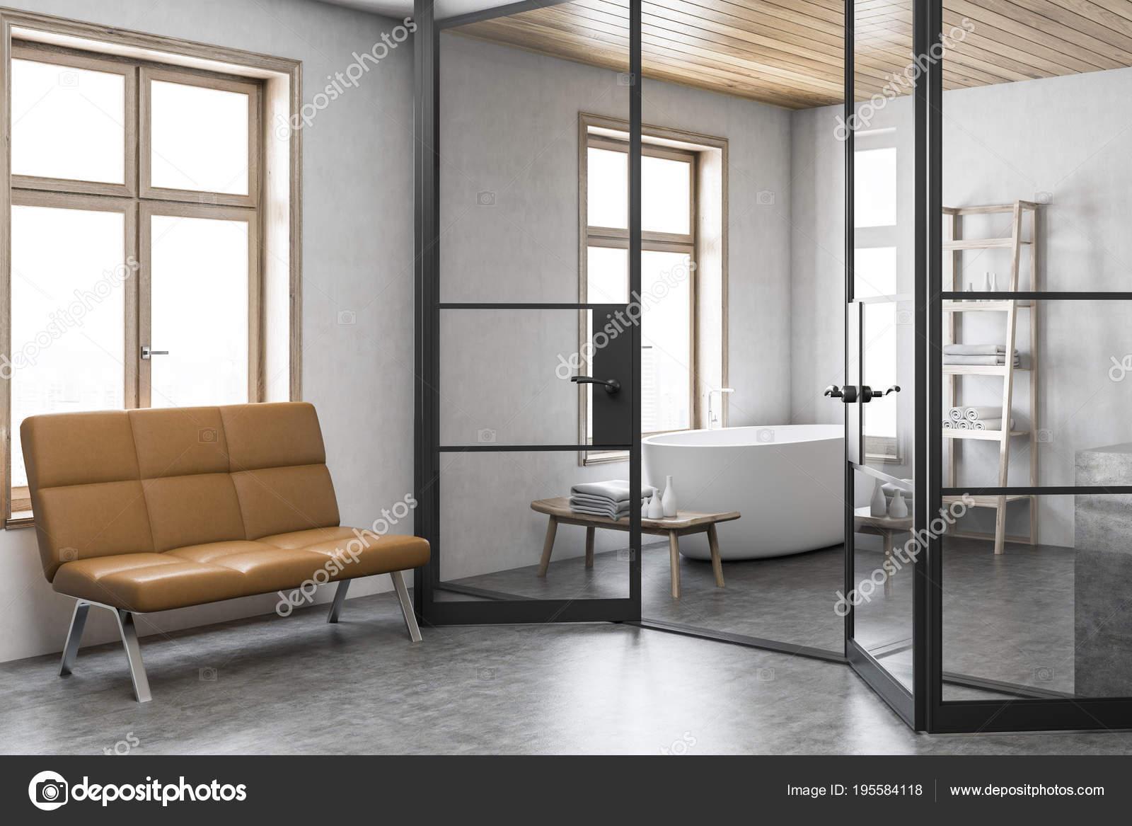 Stylish white bathroom corner, bench — Stock Photo © denisismagilov ...