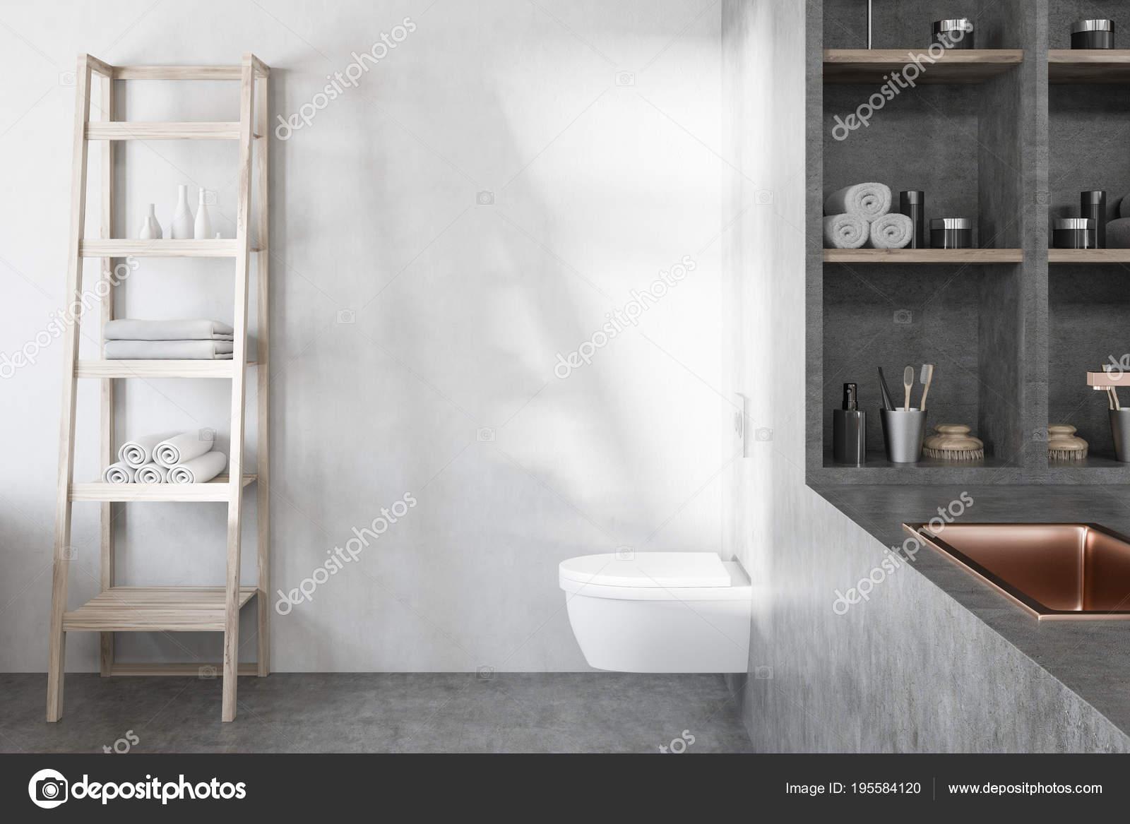 Wc E Lavandino Del Bagno Bianco E Grigio Foto Stock