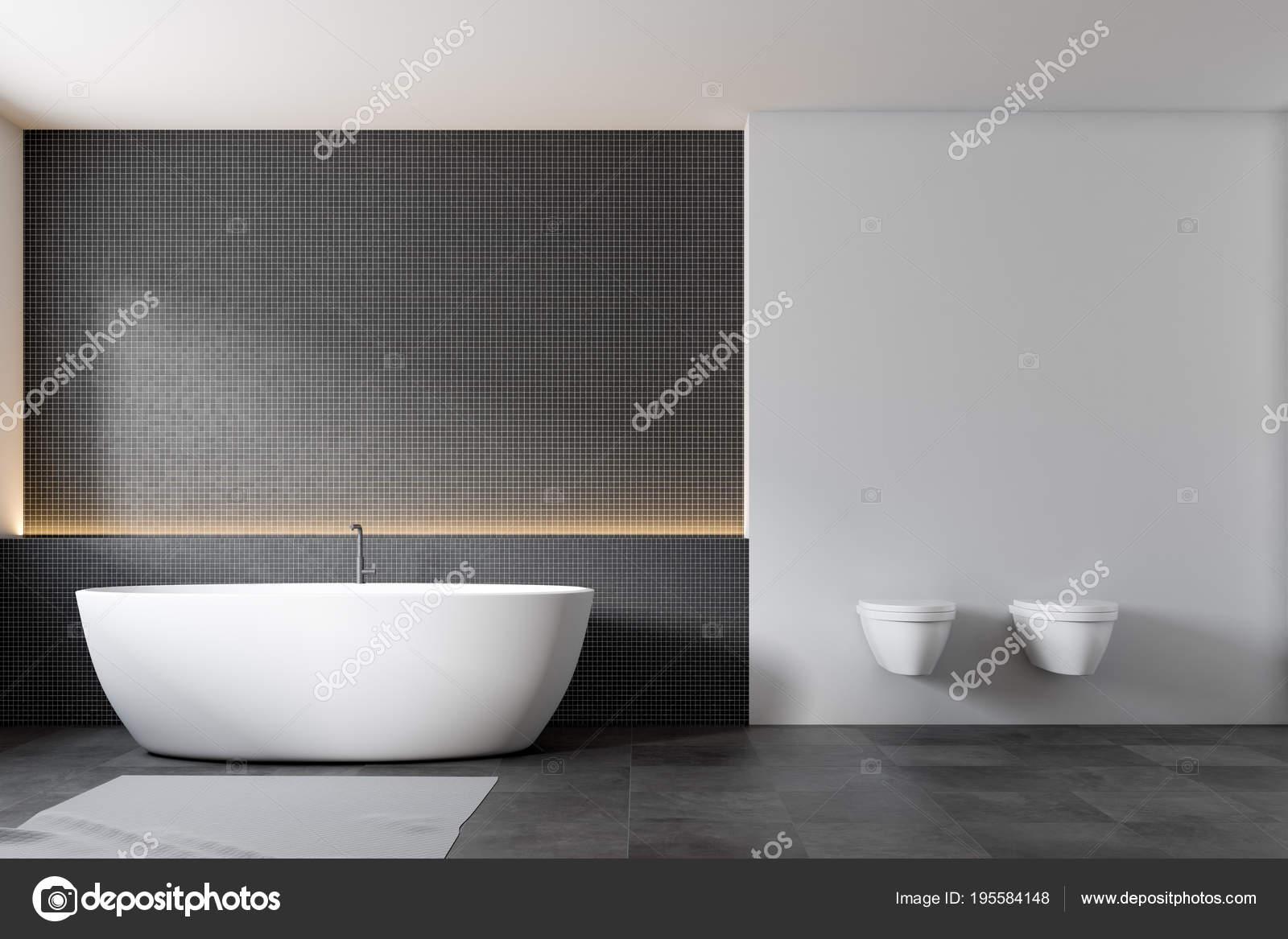 Mozaika Ciemna ściana łazienki Wnętrza Toalety Zdjęcie