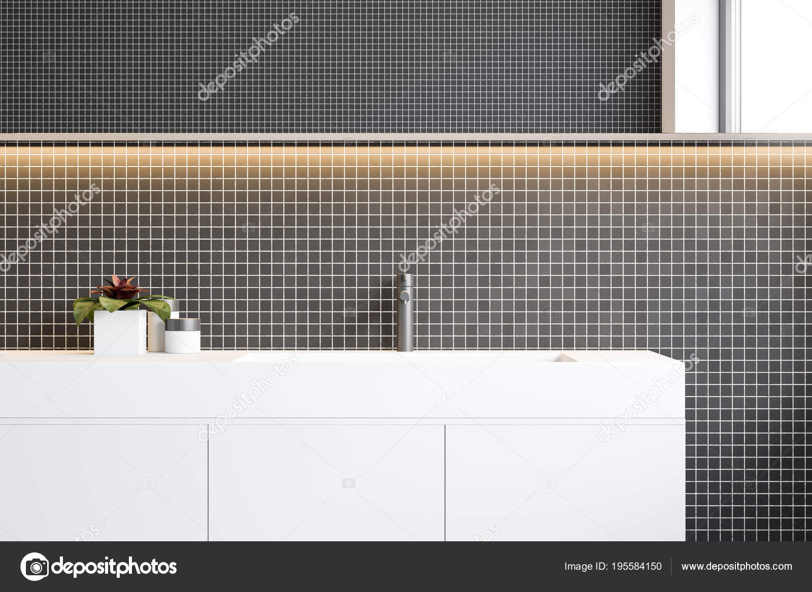 Bagno Con Mosaico Nero : Bagno in mosaico nero parete doppio lavello chiuda u foto stock