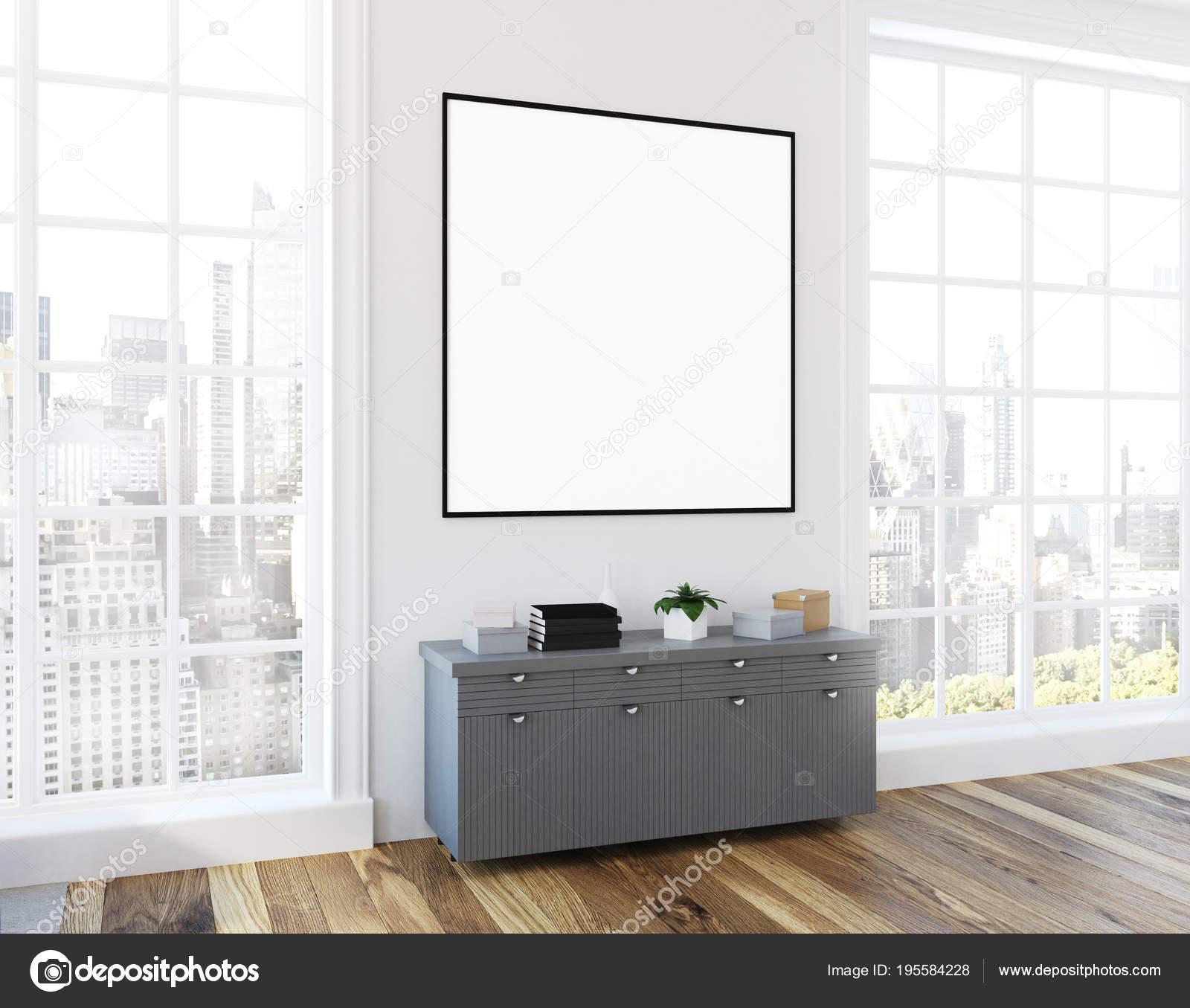 Loft Wohnzimmer Graue Kommode Plakat Seitenansicht Stockfoto