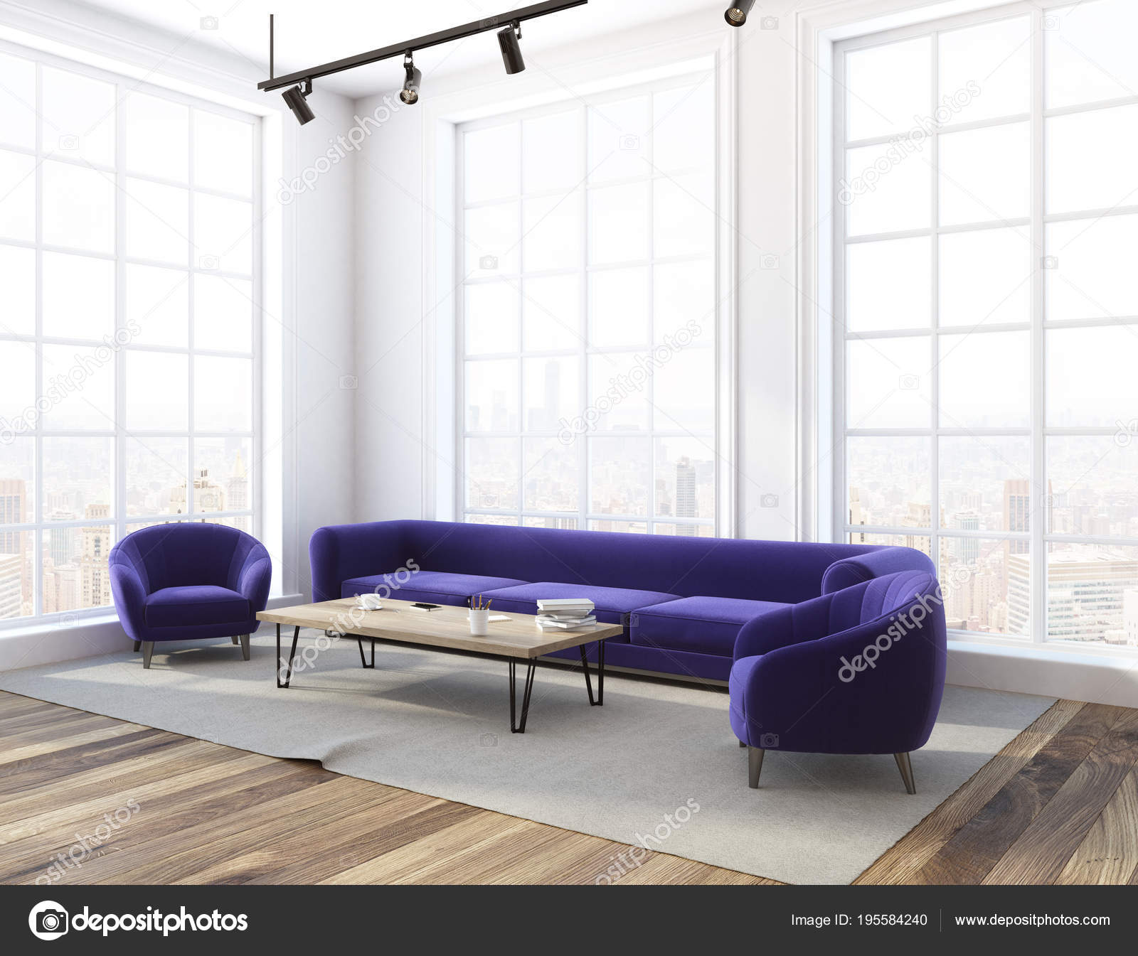 Remarkable Loft Living Room Purple Sofa Side View Stock Photo Theyellowbook Wood Chair Design Ideas Theyellowbookinfo
