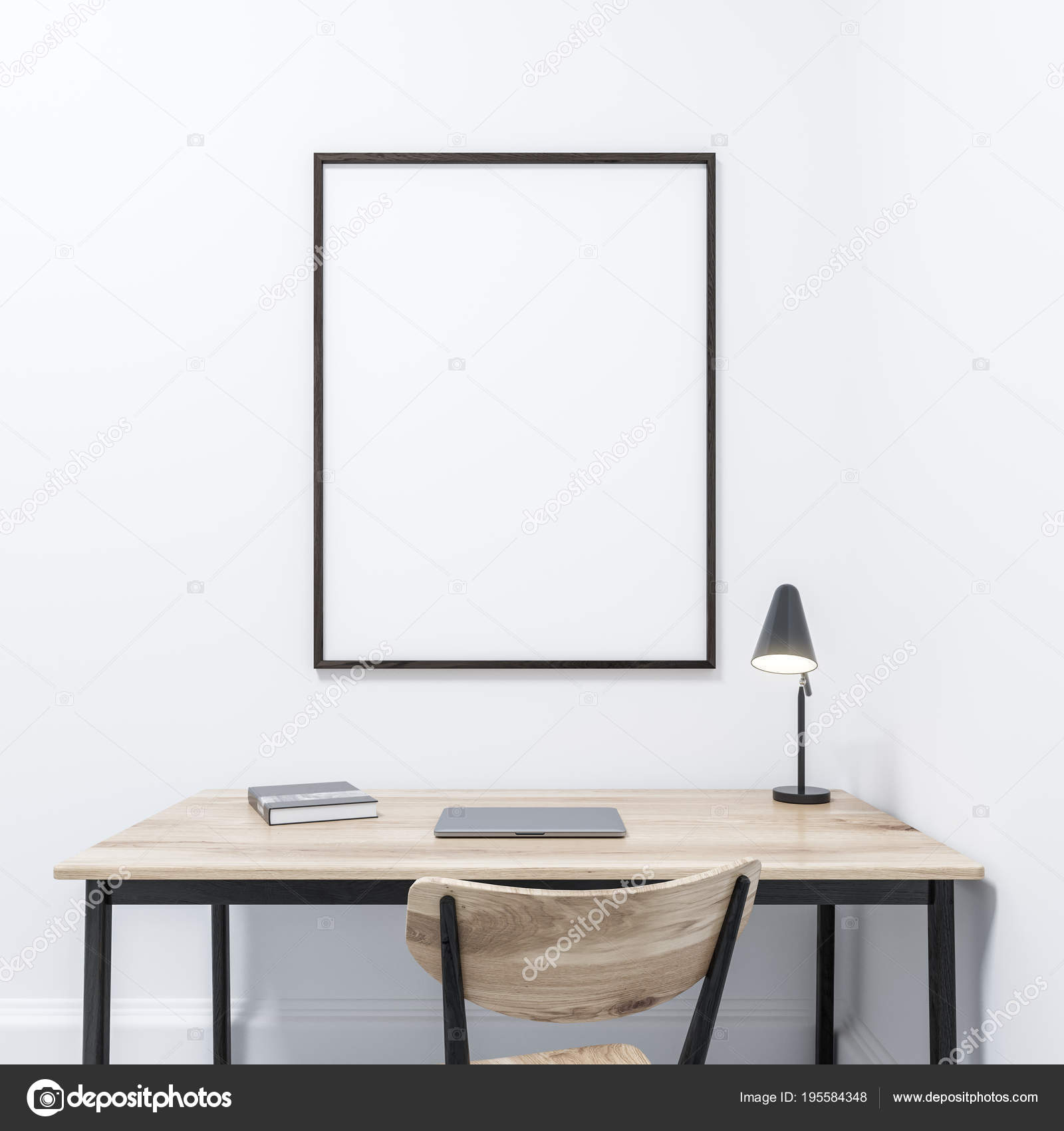 White Home Office Framed Poster Minimalism Stock Photo