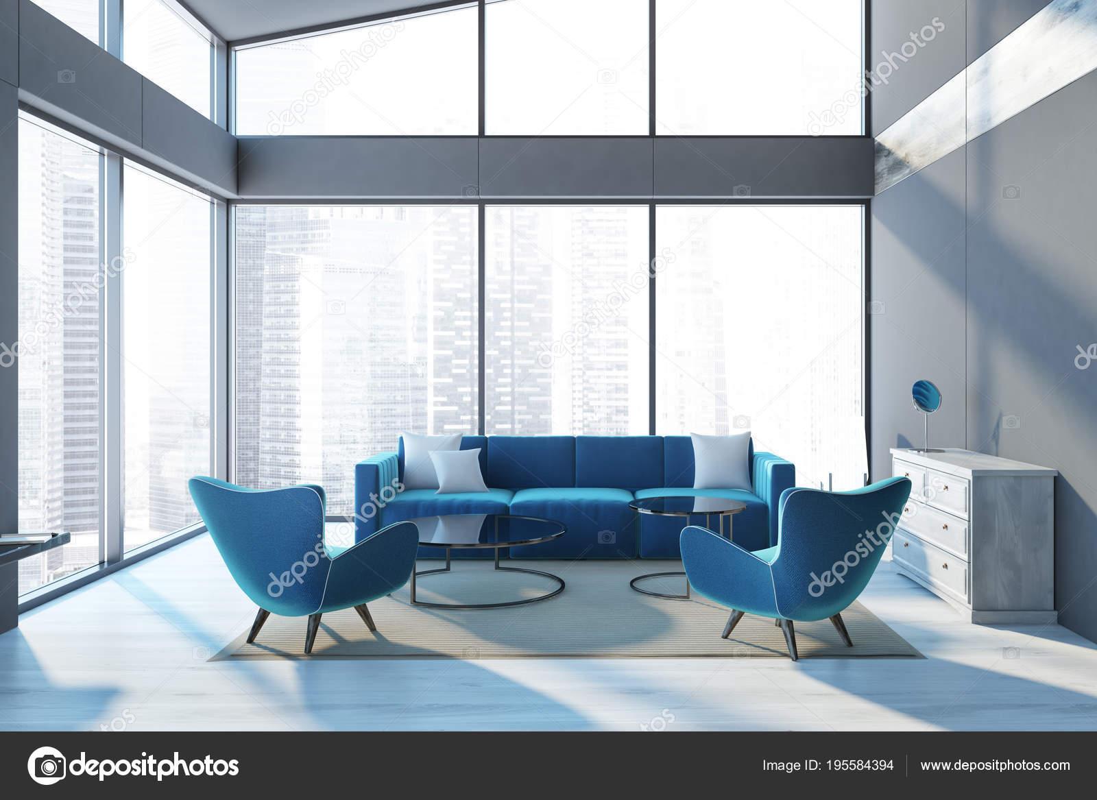 Panorama penthouse sofa im wohnzimmer blau u stockfoto