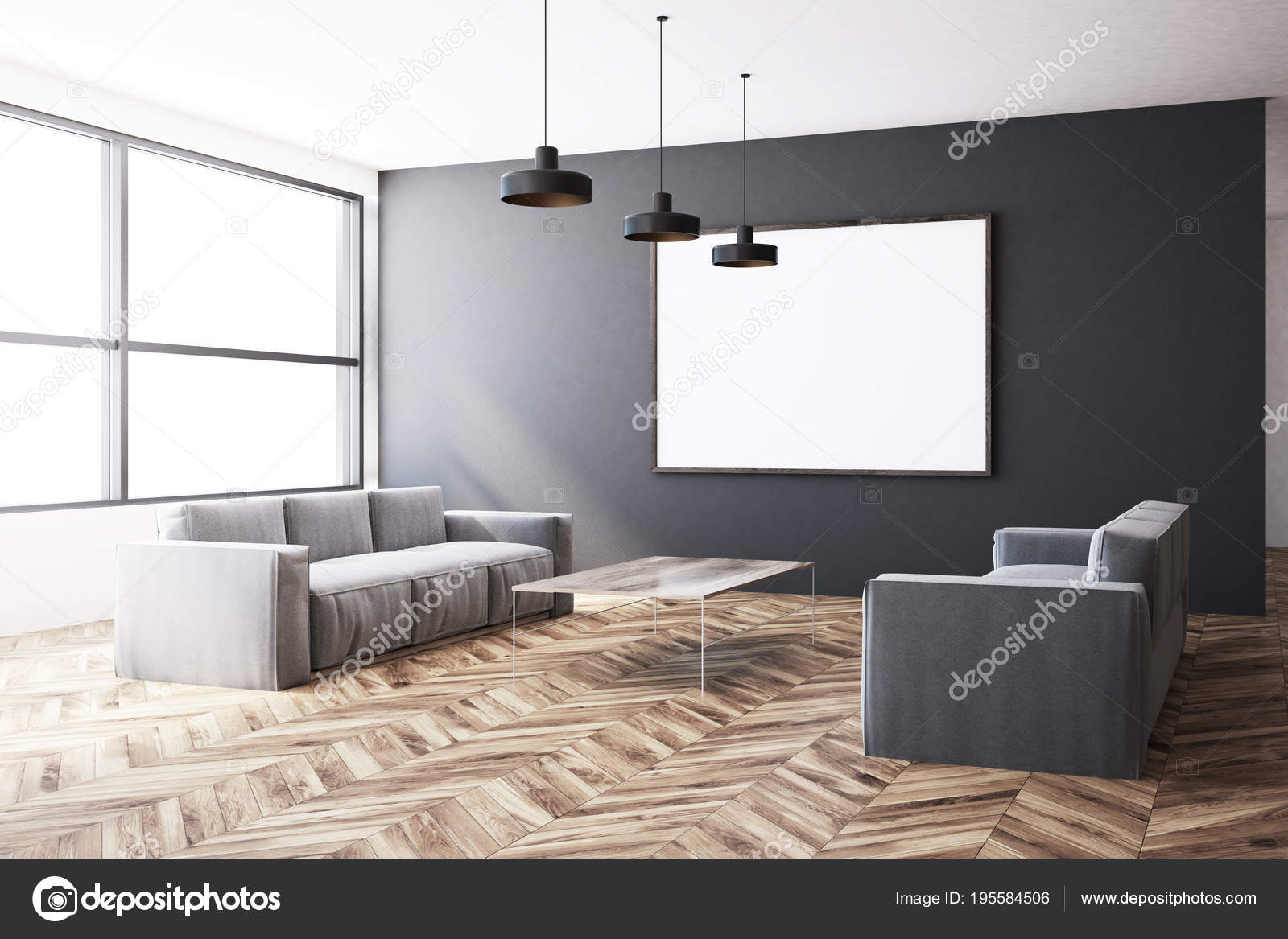 Superb Gray Living Room Two Sofas Poster Stock Photo Dailytribune Chair Design For Home Dailytribuneorg