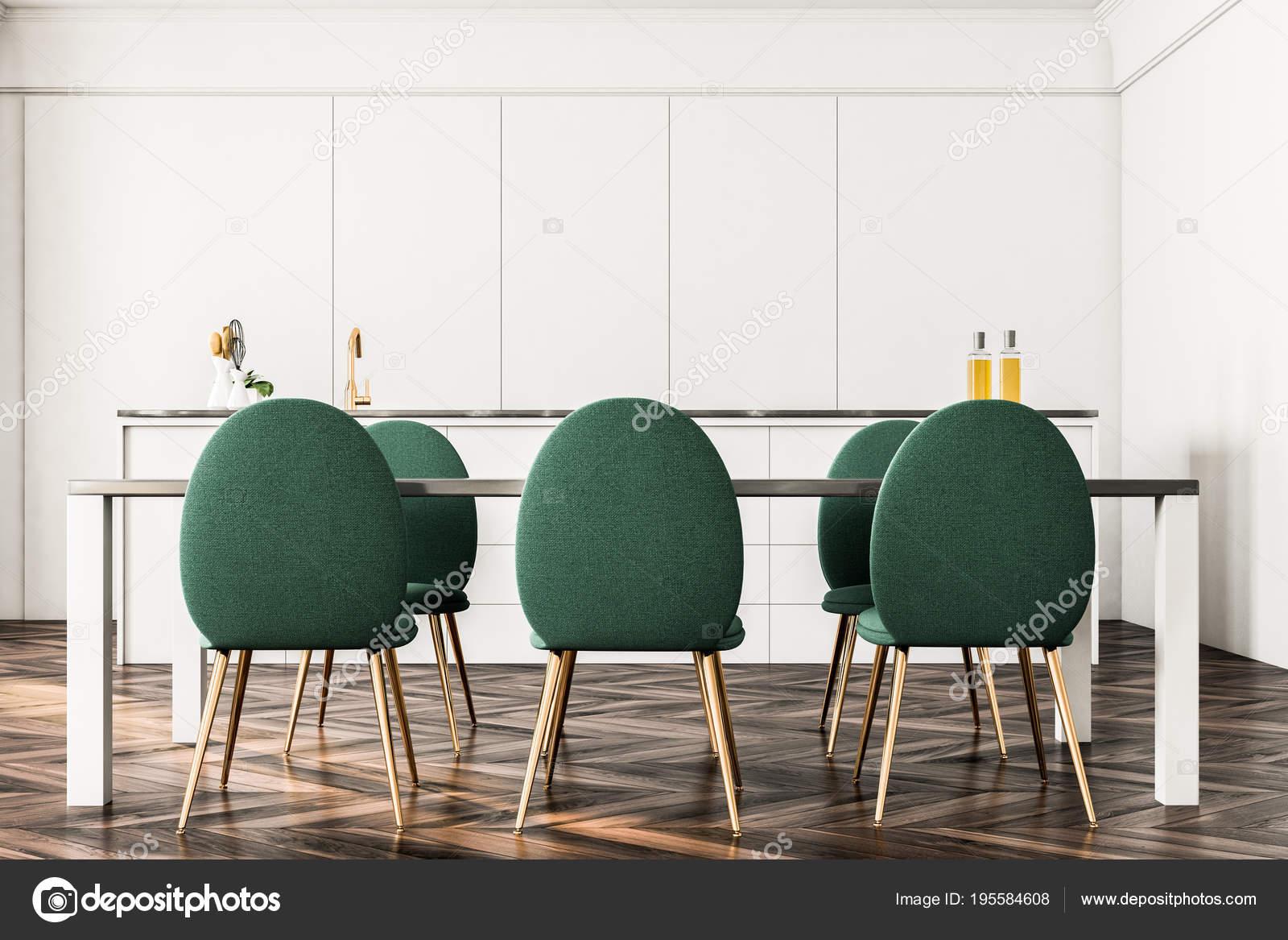 Luxus Esszimmer Interieur Grune Stuhle Vorne Stockfoto