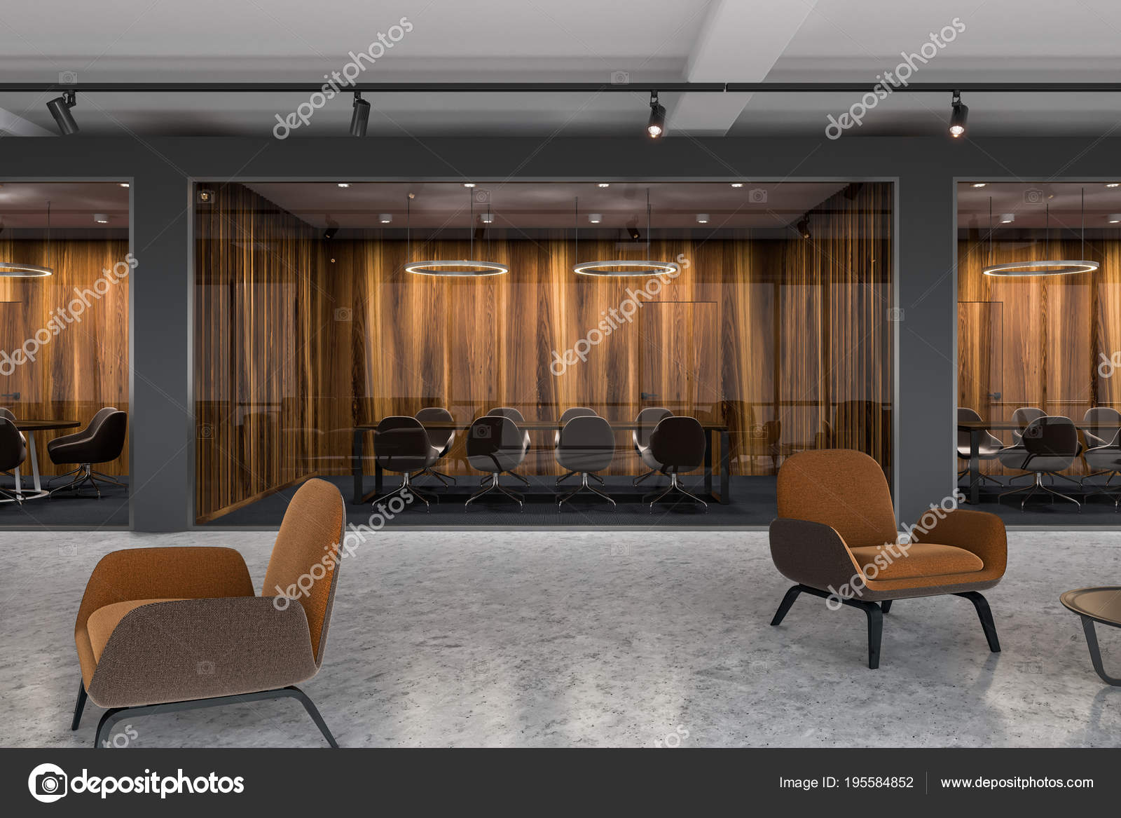 Brown Armchairs Lobby Meeting Room Stock Photo C Denisismagilov 195584852