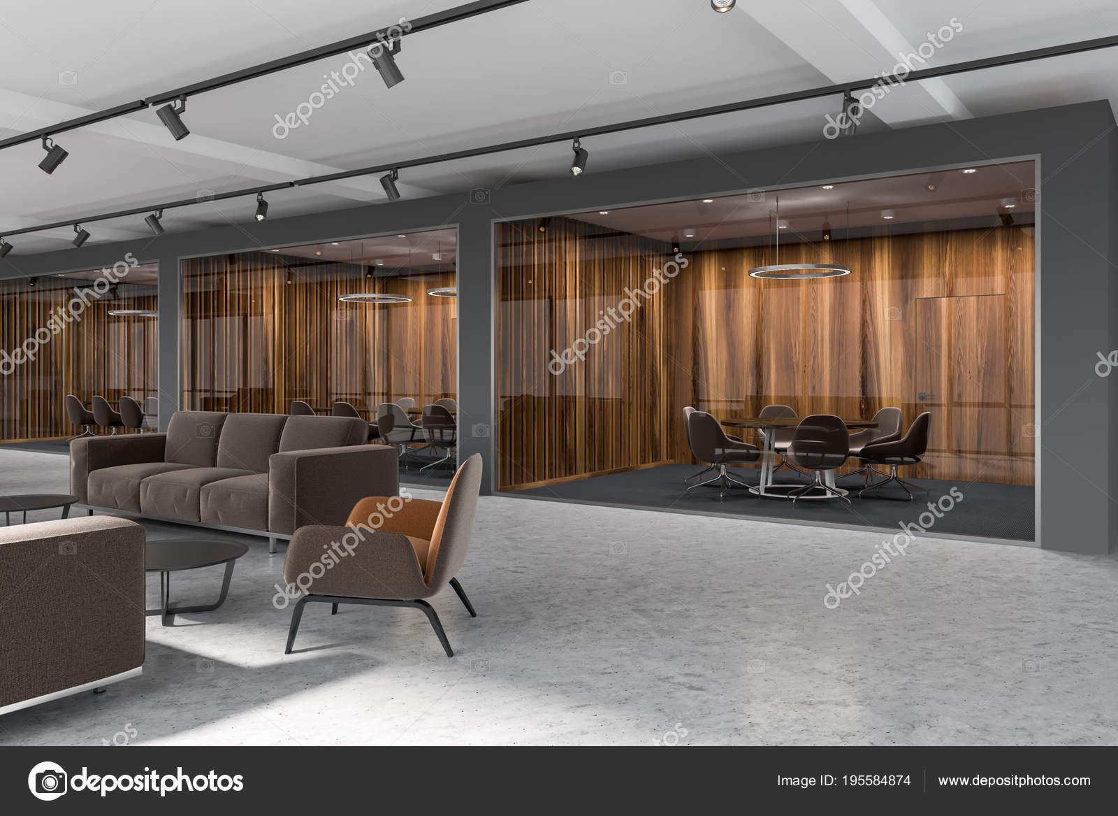 Hall de bureau de luxe salle de réunion bois foncé u photographie
