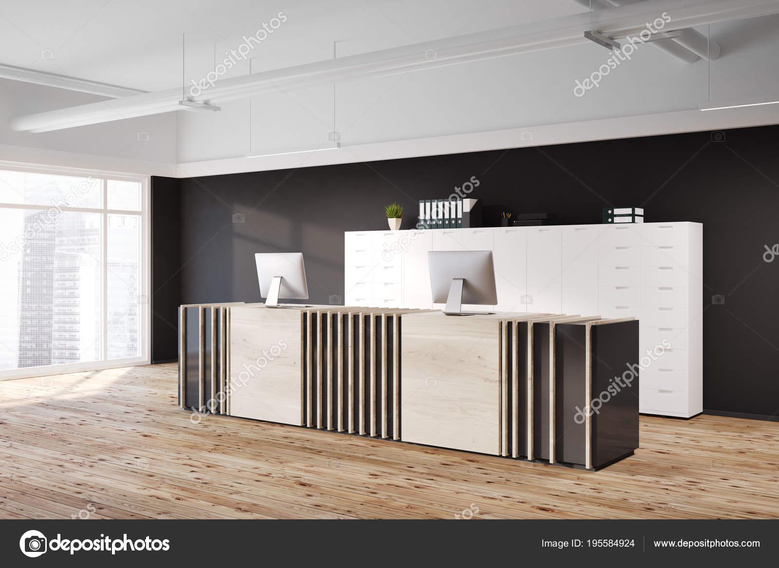 Table de réception en bois coin de bureau noir u2014 photographie