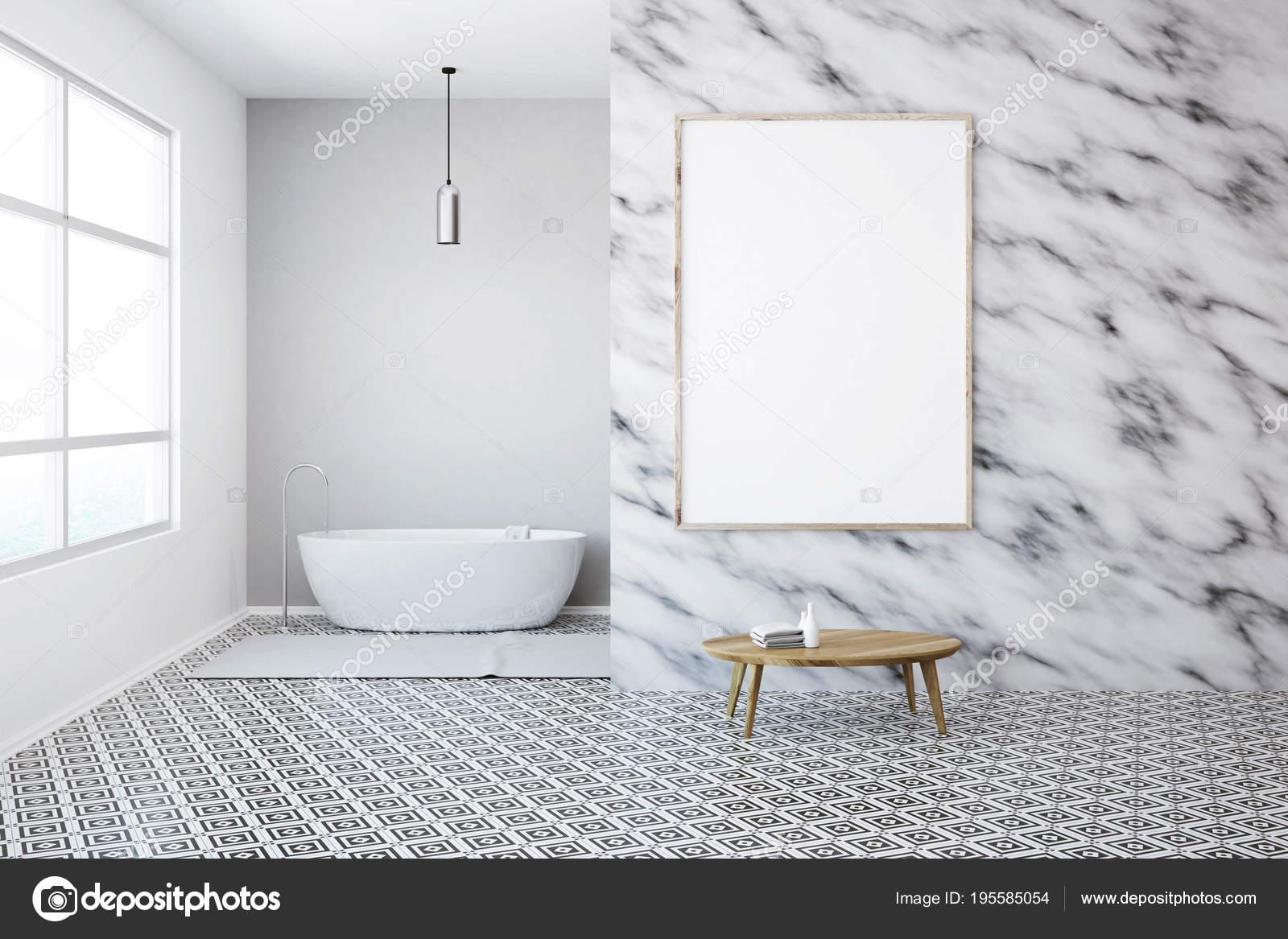 Intérieur de la salle de bains en marbre blanc, poster, tableau ...