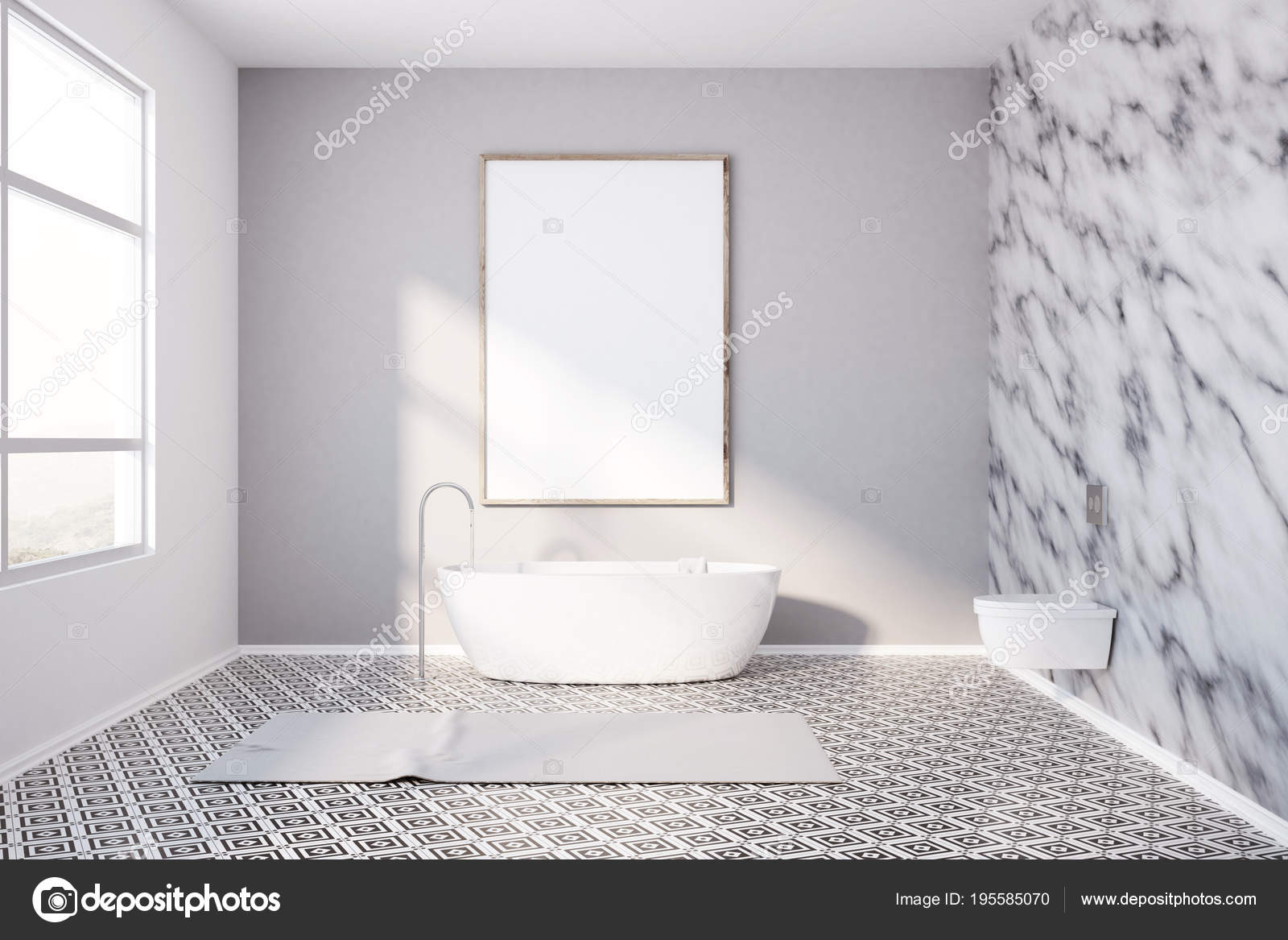 Modern Bathroom Marble Walls And Poster Stock Photo C Denisismagilov 195585070