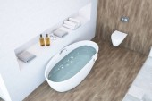 Bílé a dřevěné koupelny design pohled shora