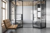 Fotografie Stylová bílá koupelna interiéru, lavička