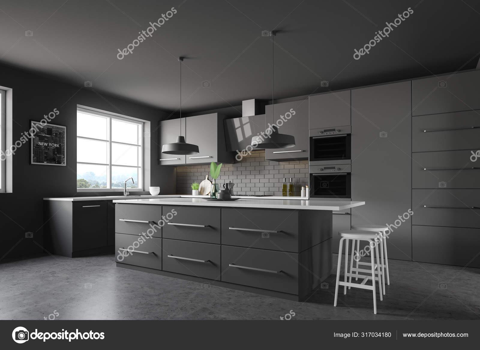Dark grey kitchen corner, bar and picture 9