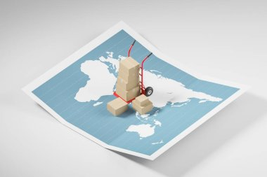 Hand truck with boxes on world map