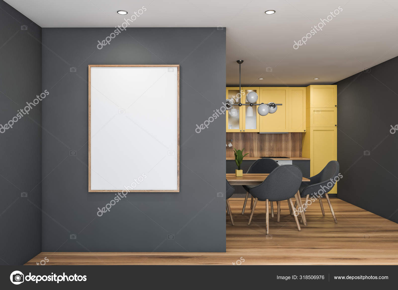 Gray and yellow kitchen with table and poster — Stock Photo ...