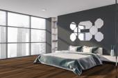 Photo Gray master bedroom corner with mirrors