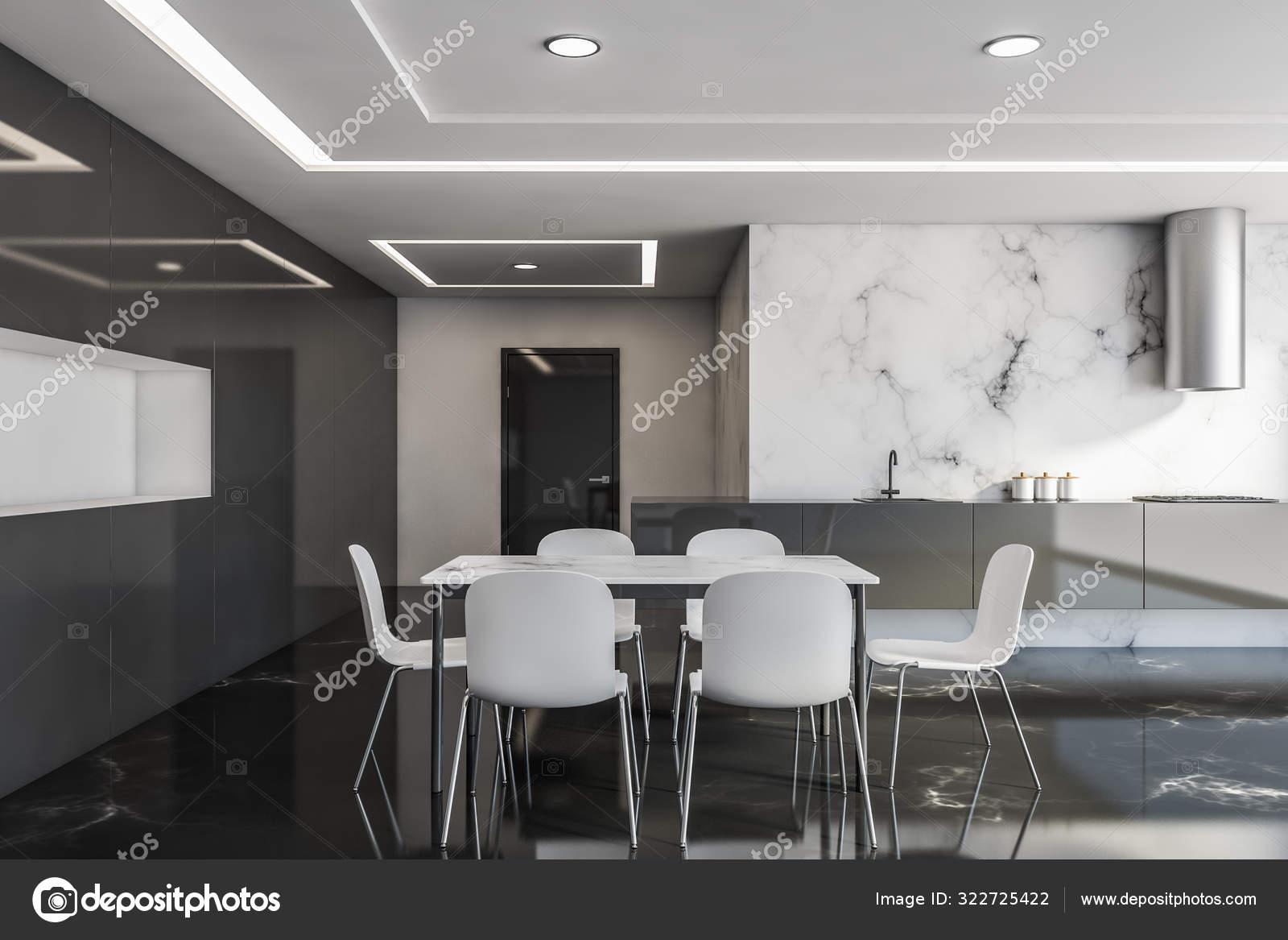 White And Black Marble Kitchen With Table Stock Photo C Denisismagilov 322725422