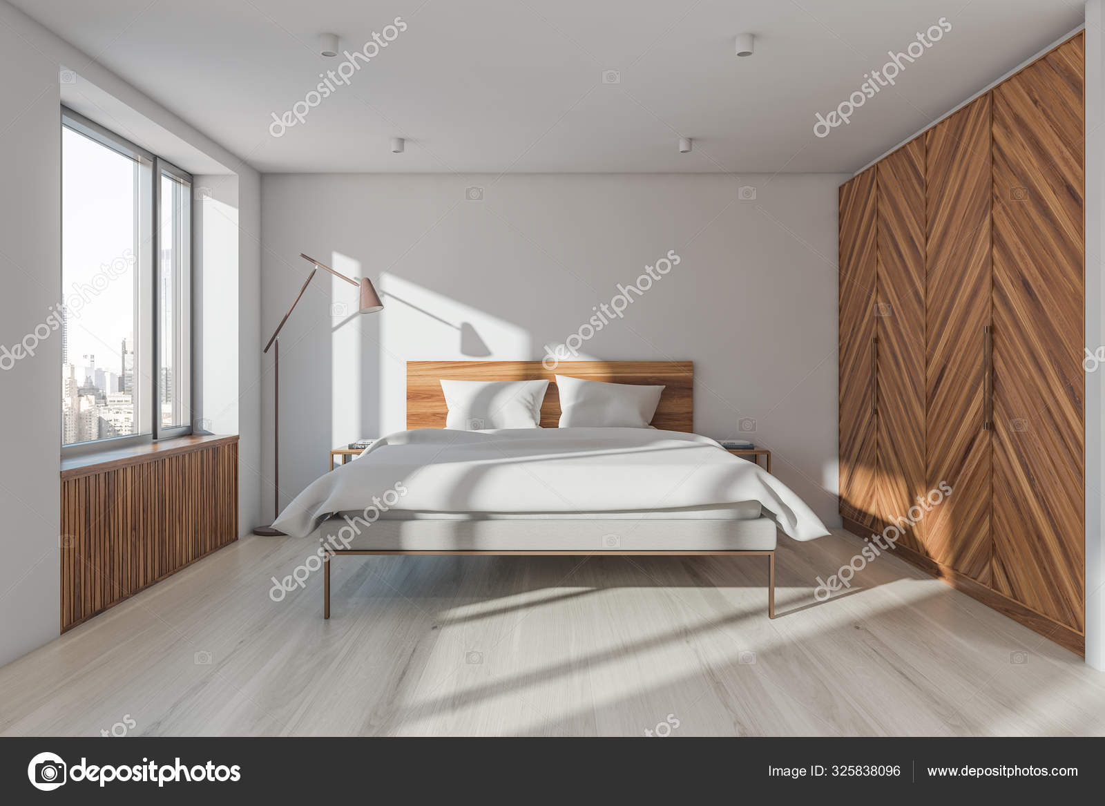 White And Wooden Master Bedroom With Wardrobe Stock Photo Image By C Denisismagilov 325838096